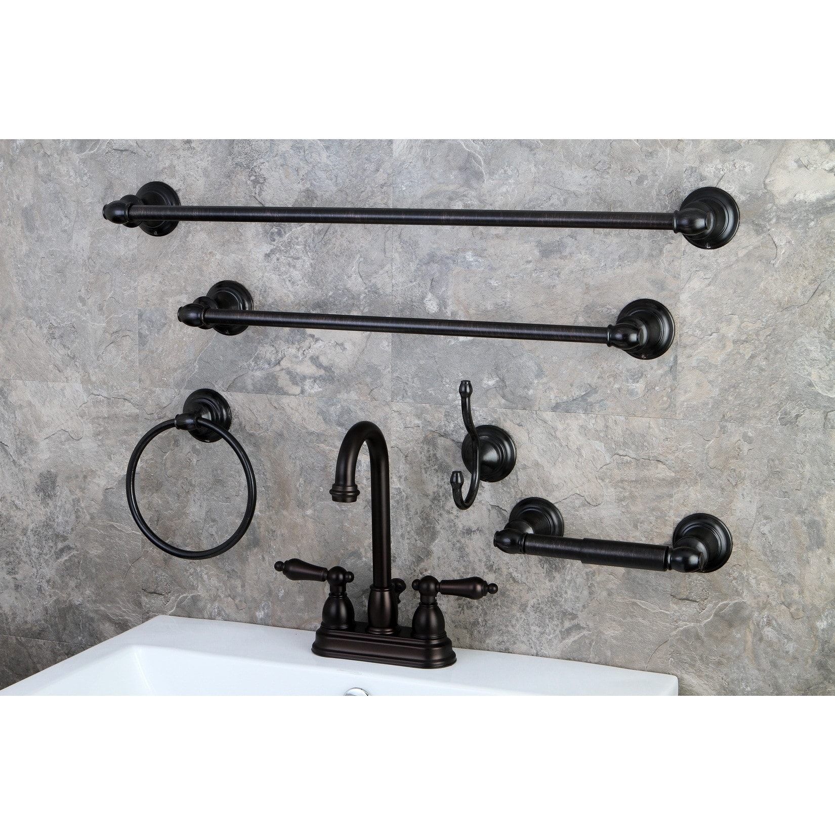 Shop High Arc Oil Rubbed Bronze Bathroom Faucet And Bathroom Accessories Set    Free Shipping Today   Overstock   8534617