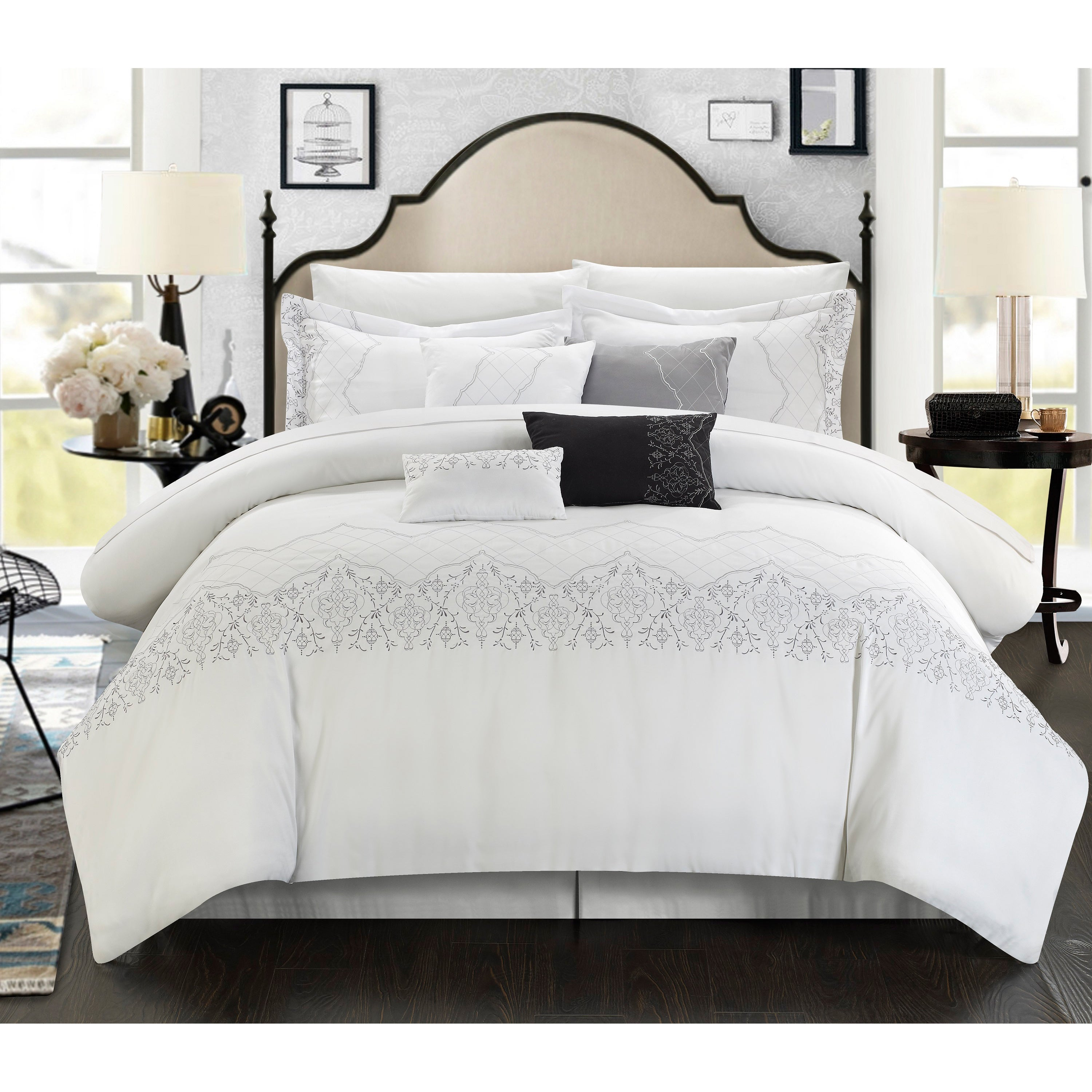 grace piece embroidered white comforter set  free shipping  - grace piece embroidered white comforter set  free shipping today overstockcom