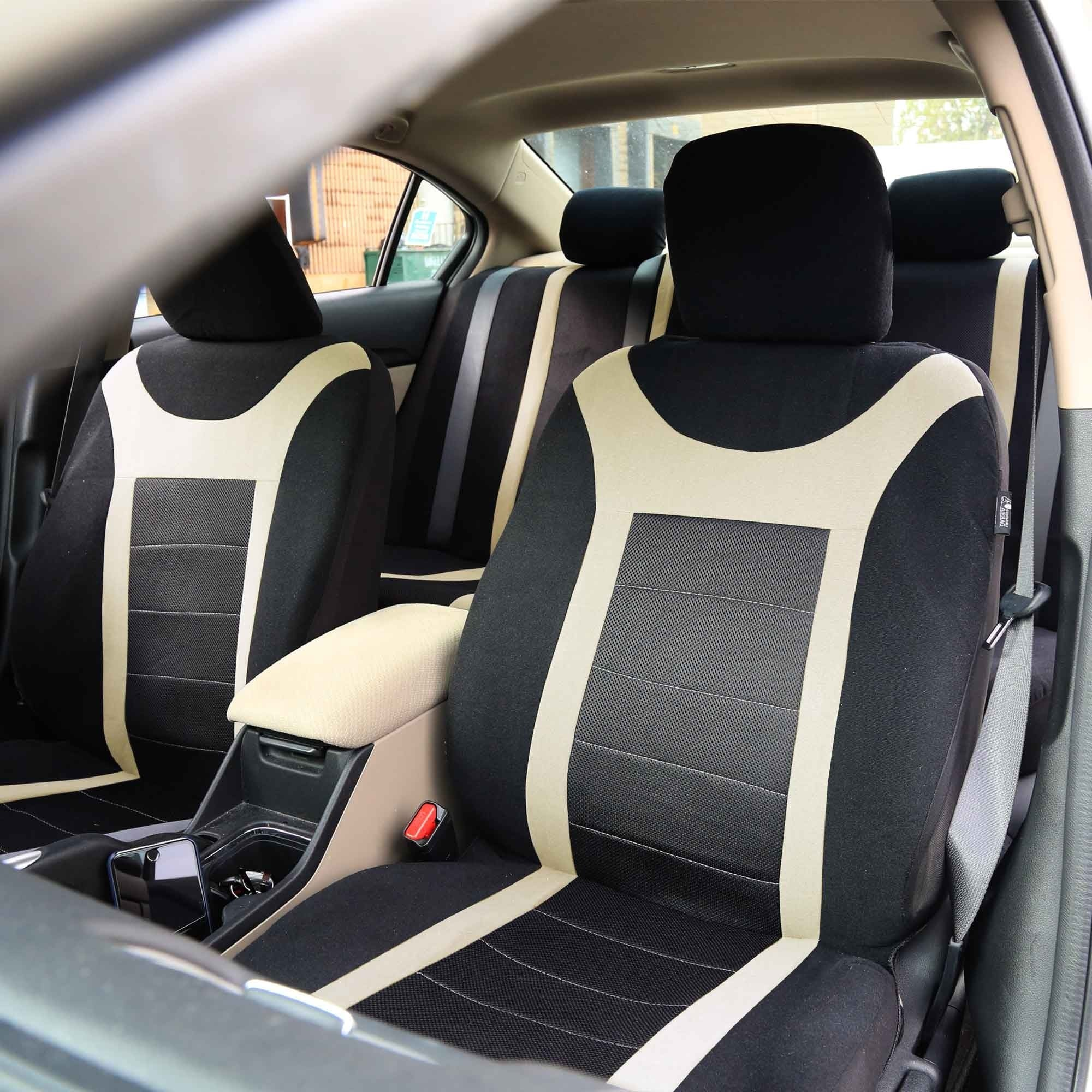 FH Group Beige Airbag Compatible Sports Car Seat Covers Full Set