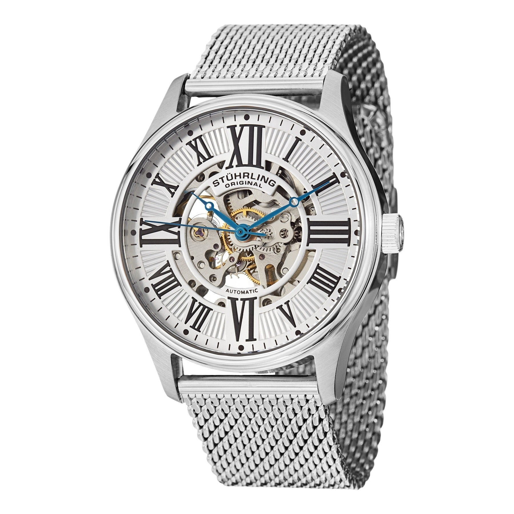 da46e530e Stuhrling Original Men's Atrium Elite Automatic Skeleton Stainless Steel  Mesh Band Watch