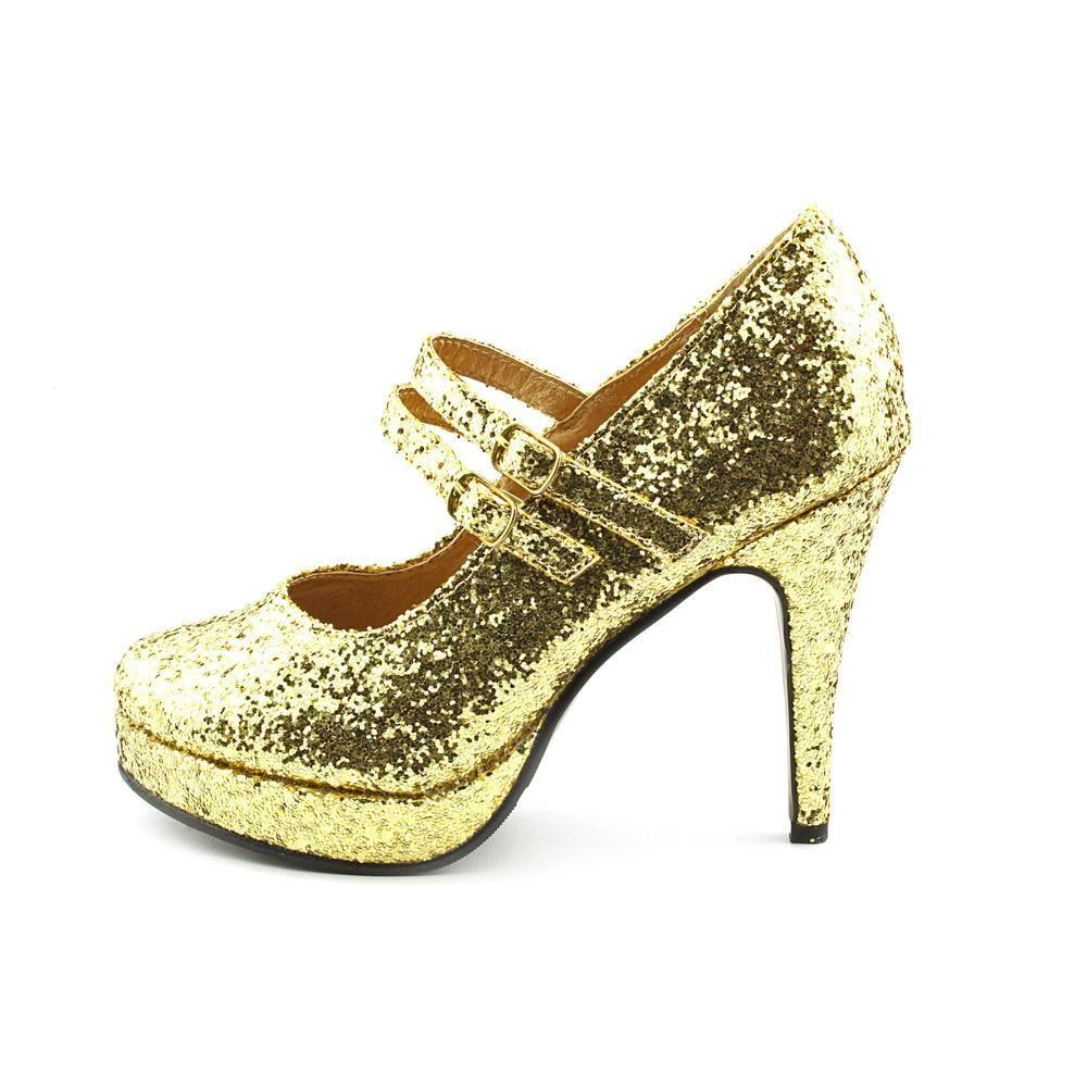 9072a7c67f6 Shop Ellie Women s  421-Jane-G  Glittery Double Strap Mary Jane Heels -  Free Shipping On Orders Over  45 - Overstock - 8546464