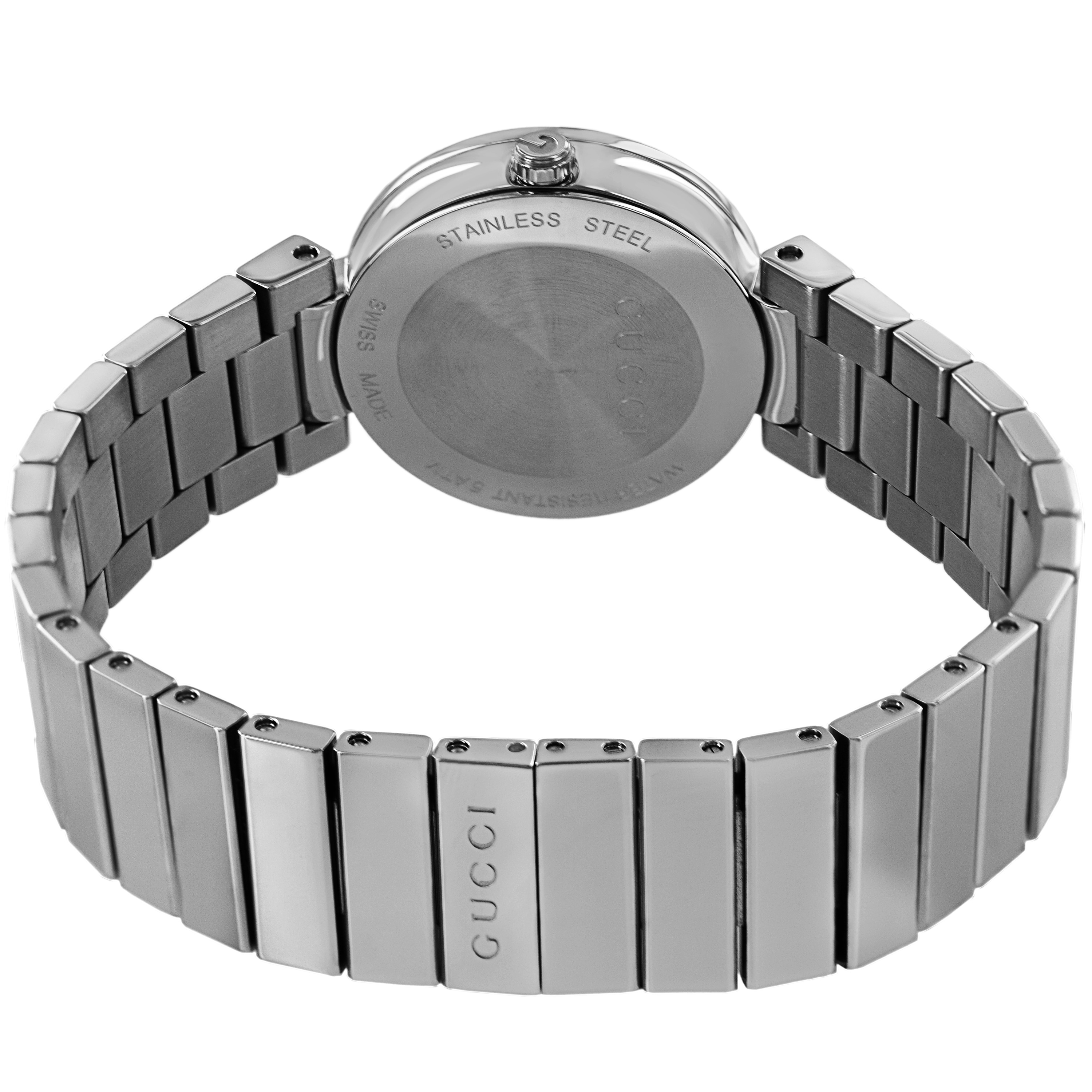 1d89fd9bcab Shop Gucci Women s YA133503  Interlocking  Black Dial Stainless Steel  Bracelet Quartz Watch - Free Shipping Today - Overstock - 8546848