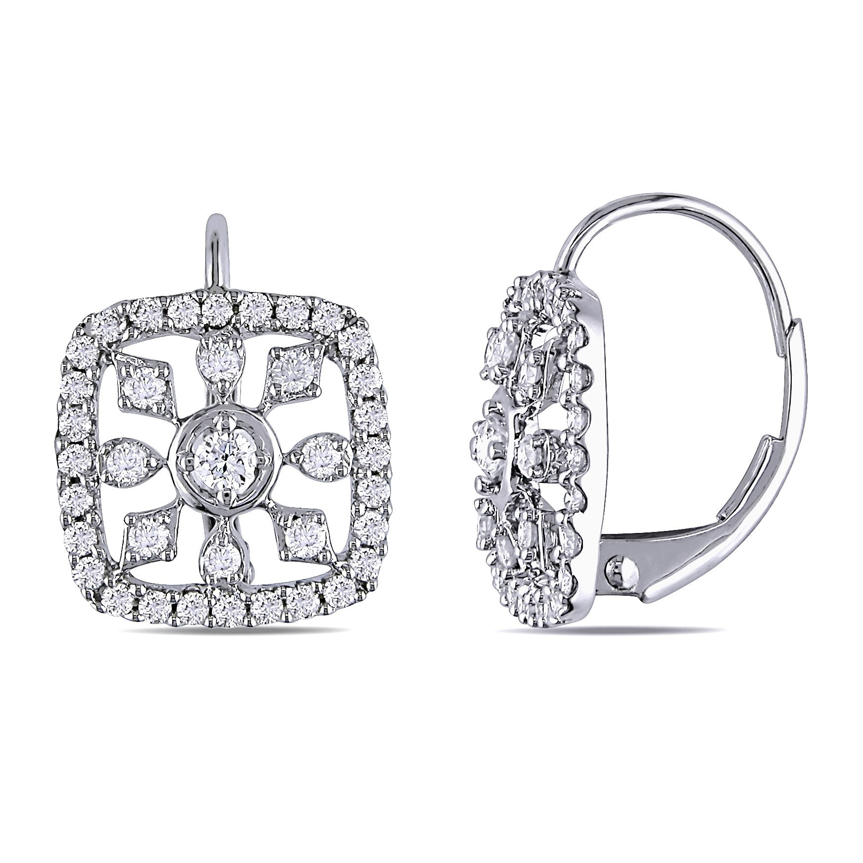Miadora Signature Collection 14k White Gold 3 4ct Tdw Diamond Snowflake Earrings On Free Shipping Today 8546865