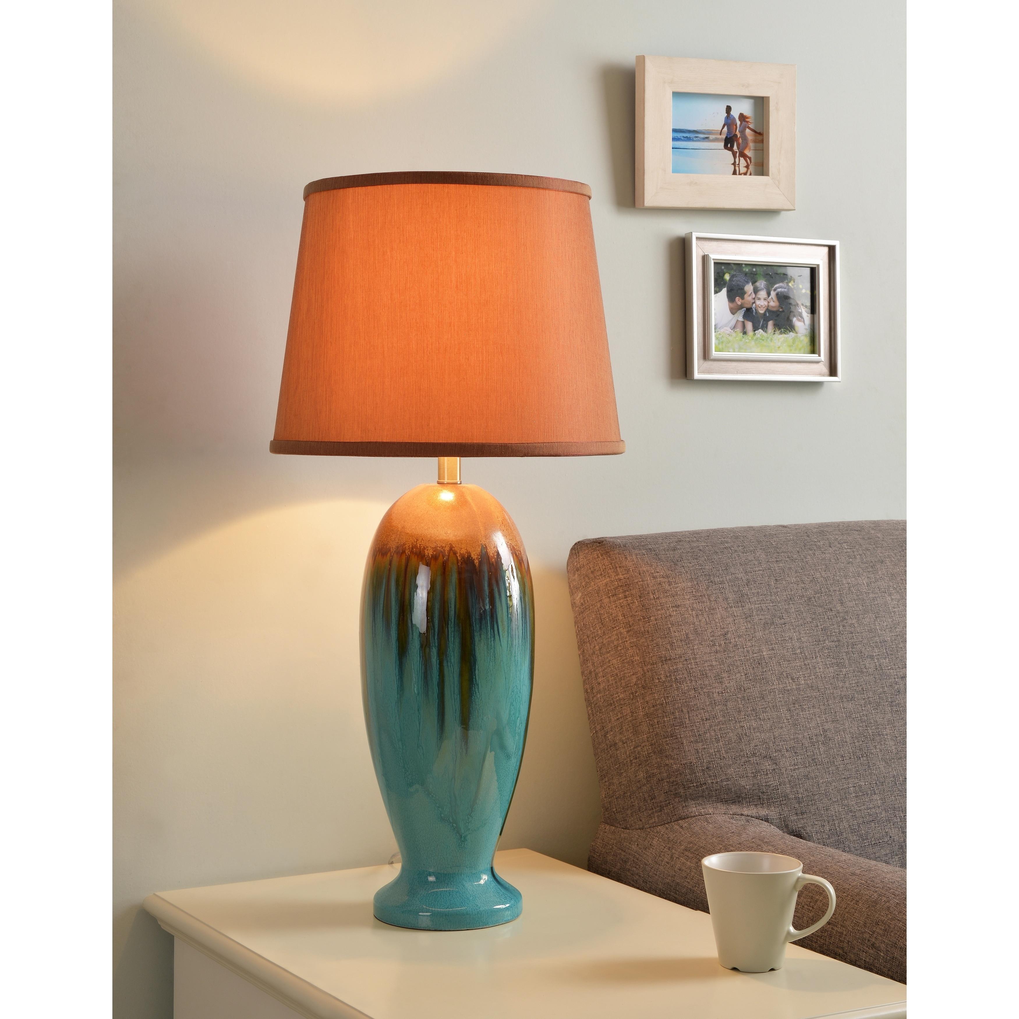Shop Bellmore Teal Ceramic Glaze 30 Inch Table Lamp On Sale Free
