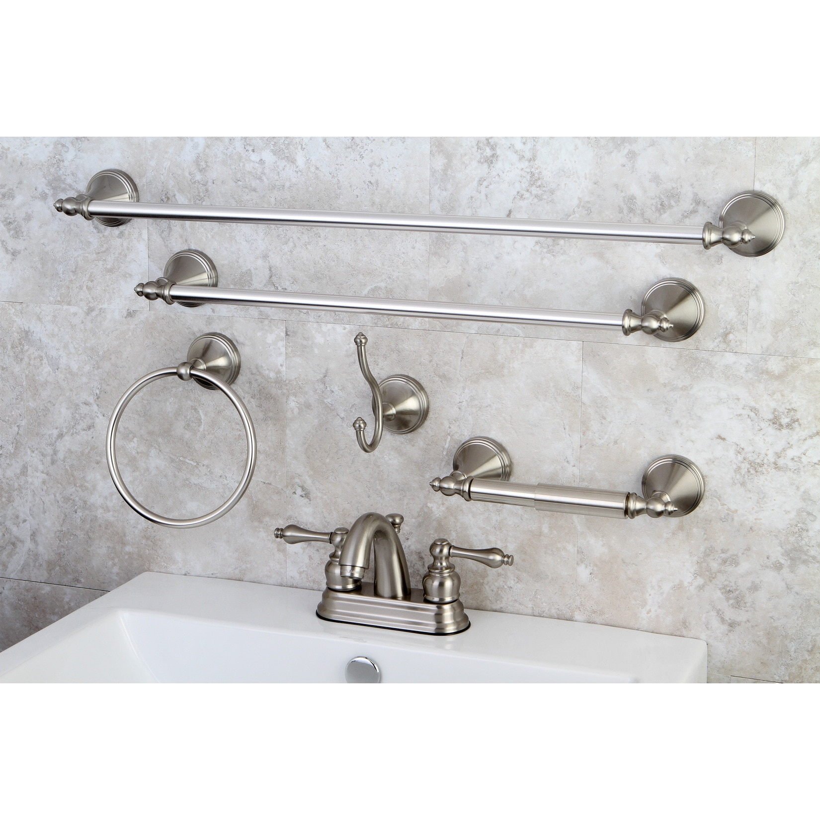 Shop Modern Satin Nickel Metal Faucet Towel Rack Bathroom Faucet ...