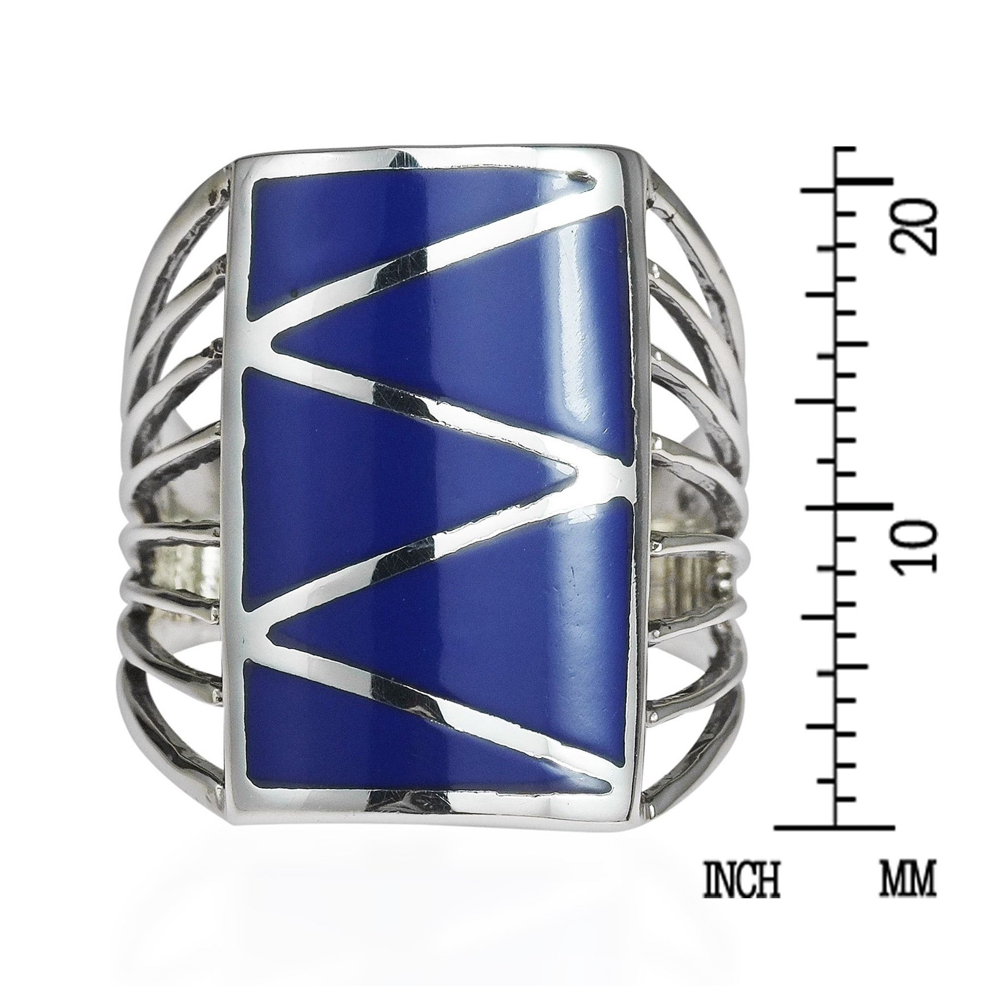 Shop Handmade Stripe Line Zigzag Stone .925 Sterling Silver Ring ...