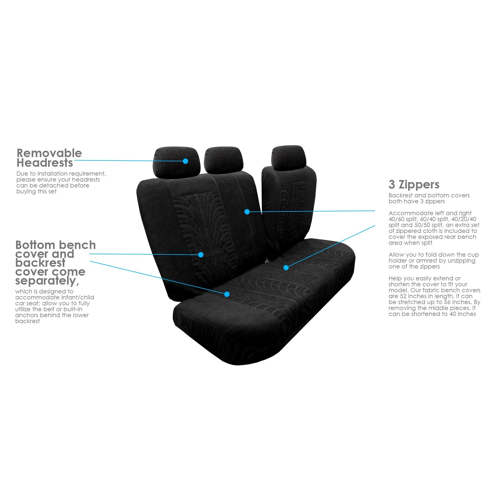 FH Group Black Travel Master Car Seat Covers Full Set