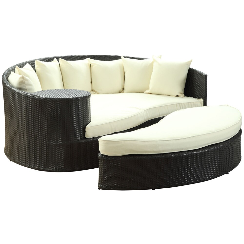 Modway Taiji Outdoor Wicker Patio Daybed With Ottoman And Cushions Free Shipping Today 8549147