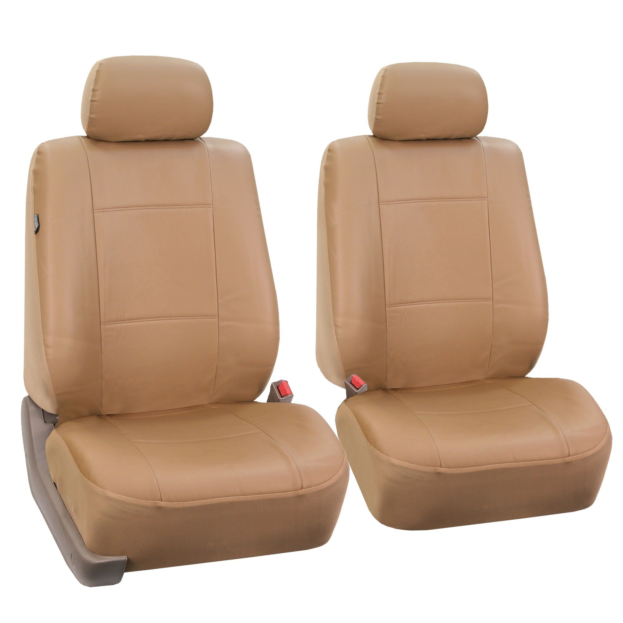 FH Group Tan PU Leather Front Low Back Buckets And Solid Bench Car Seat Covers Full Set