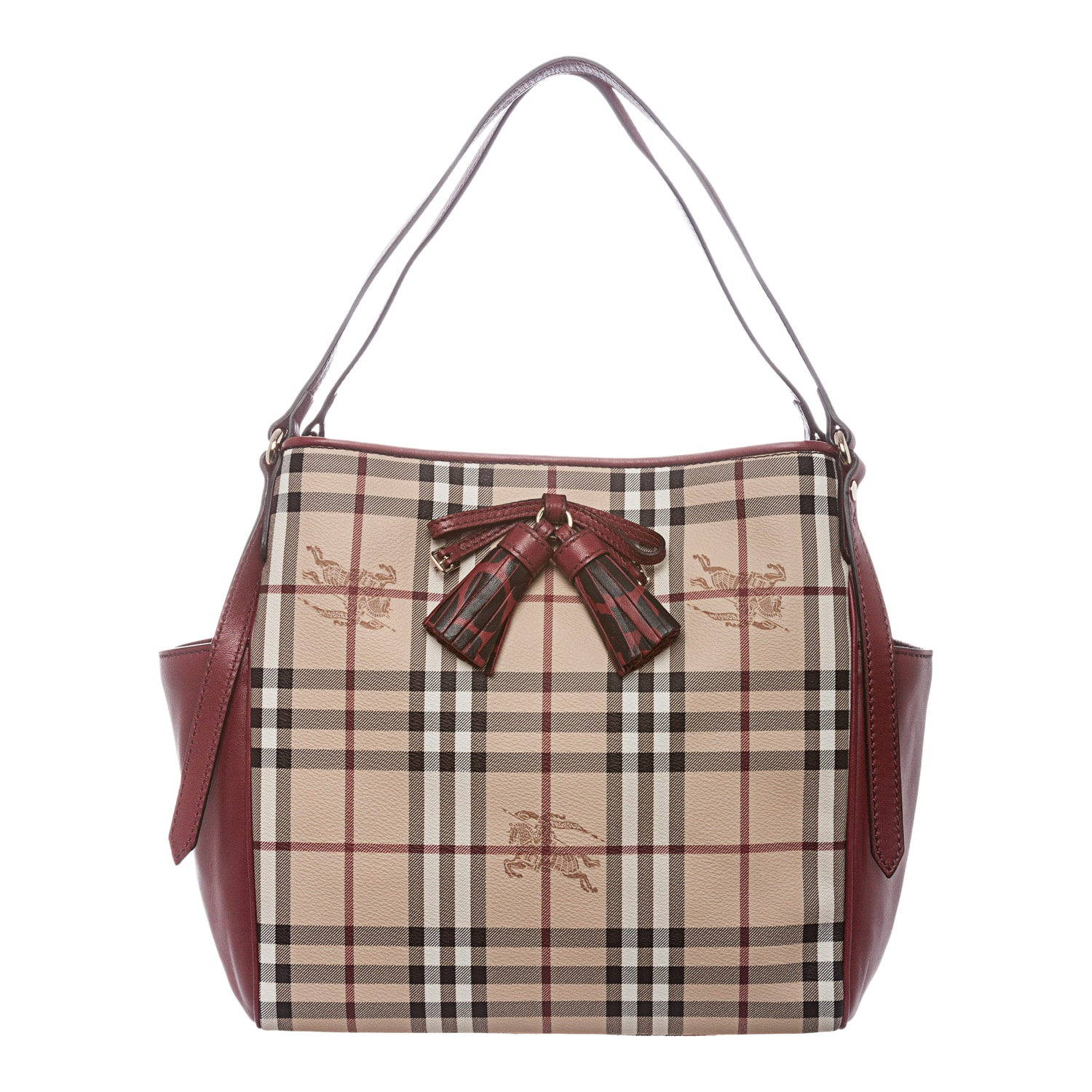 9ffd4d6a5318 Shop Burberry Small Beige  Red Tassel-bow Haymarket Check Tote - Free  Shipping Today - Overstock.com - 8553810