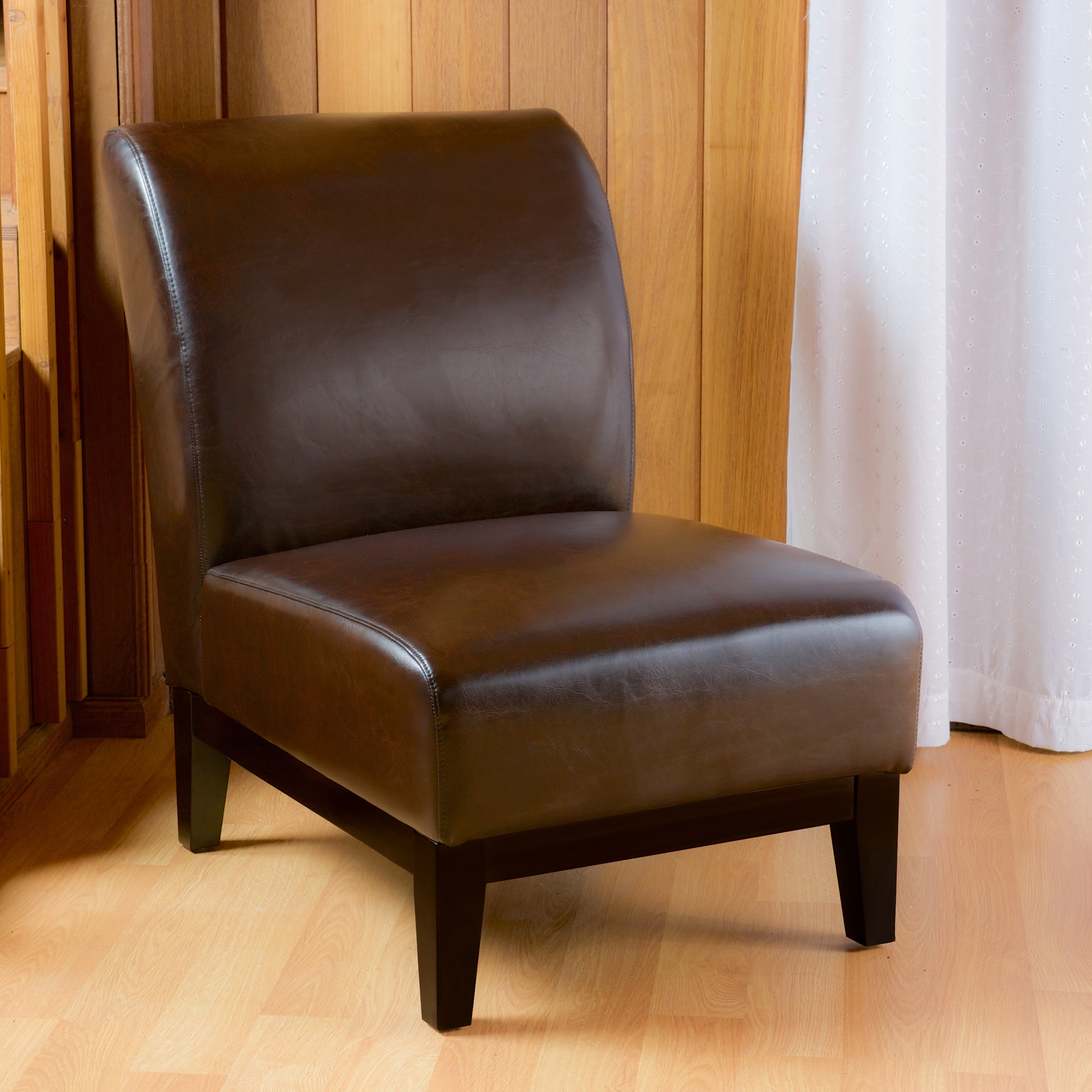 Bon Shop Darcy Brown Leather Slipper Chair By Christopher Knight Home   On Sale    Free Shipping Today   Overstock.com   8557482