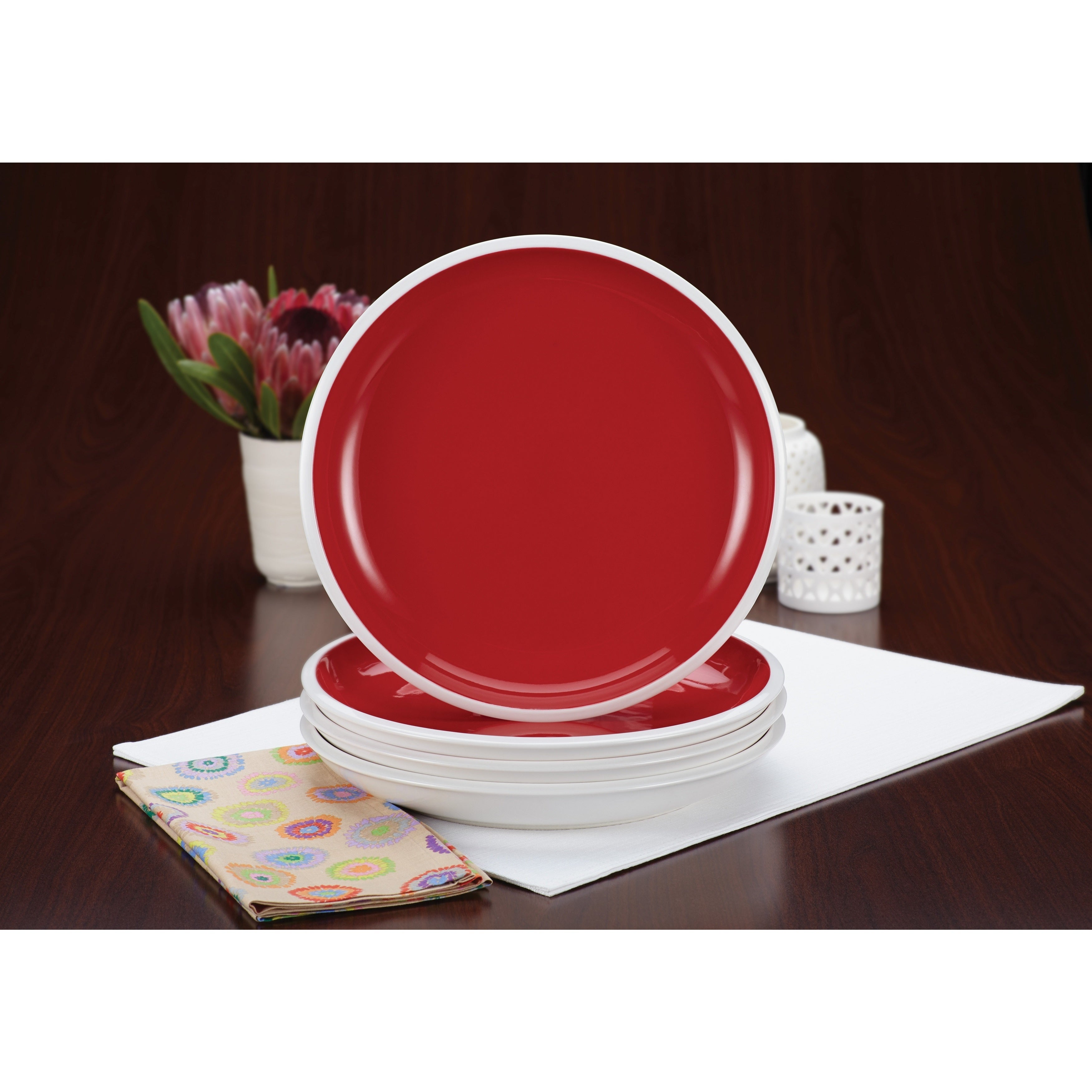 Rachael Ray Dinnerware Rise 4-piece 11-inch Red Dinner Plate Set - Ships To Canada - Overstock - 15836657  sc 1 st  Overstock.ca & Rachael Ray Dinnerware Rise 4-piece 11-inch Red Dinner Plate Set ...