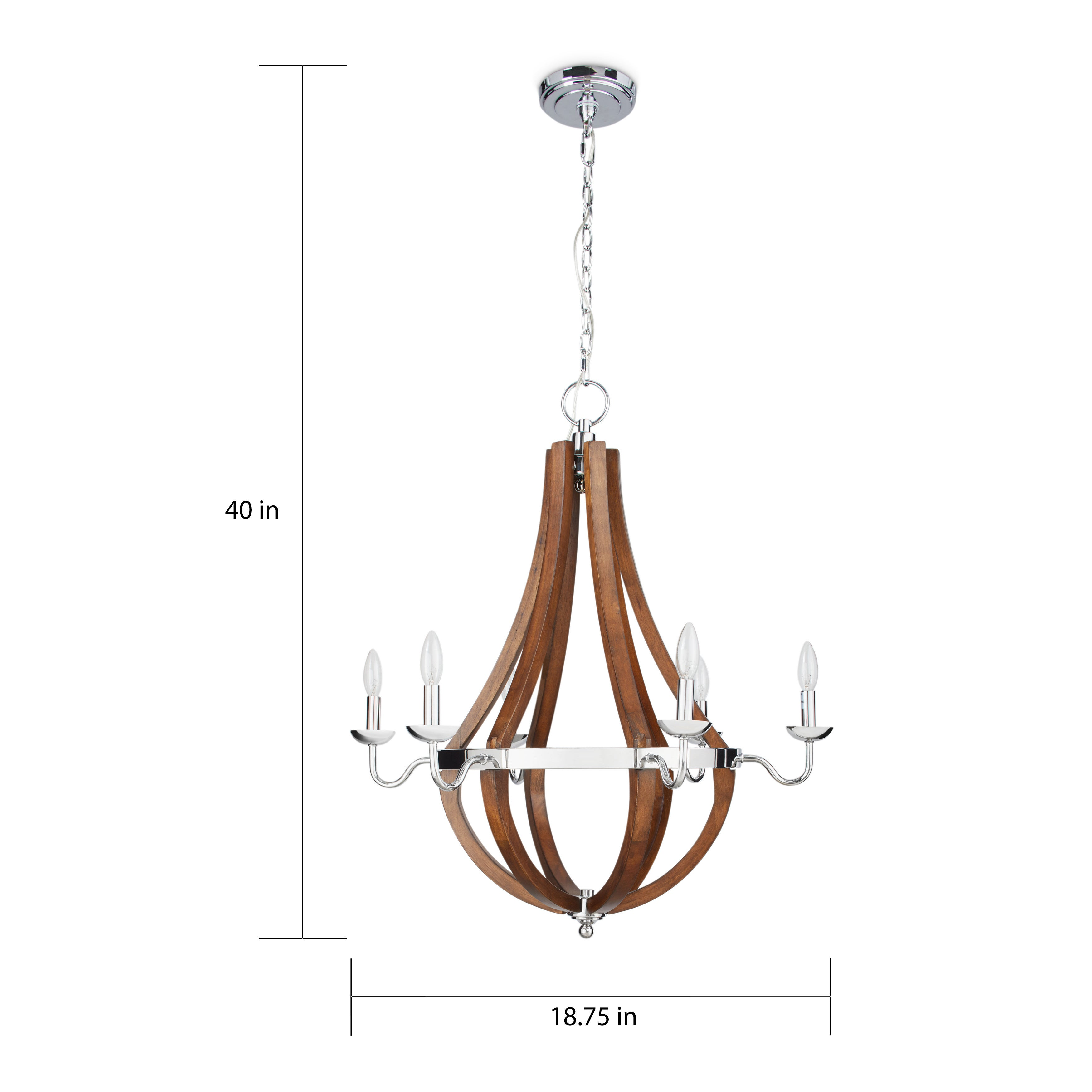 Shop Oliver James Vineyard Wood Chrome 6 Light Chandelier Free Lamps Plus Pendant Lighting Decorative Electrical Wiring Shipping Today 8560169