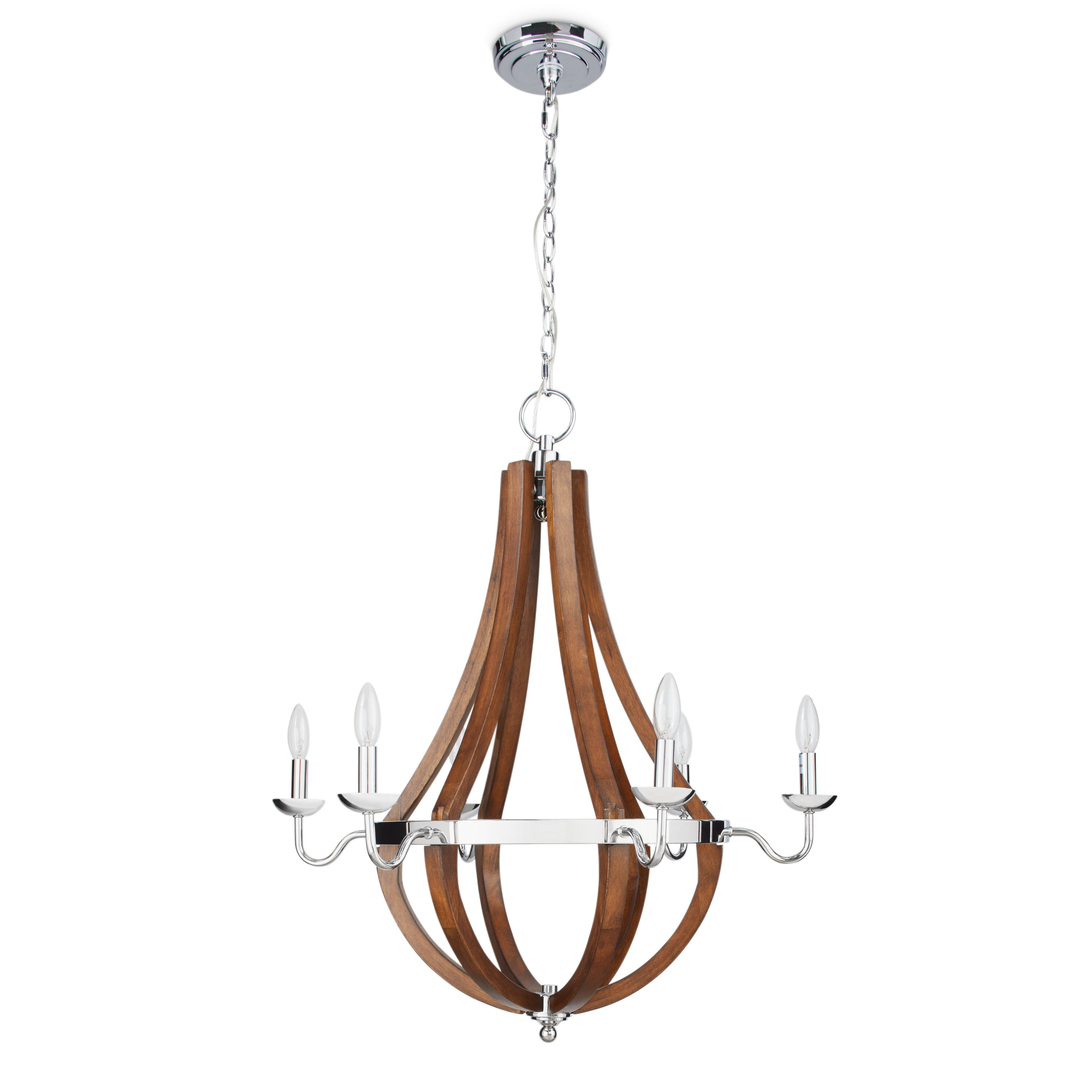 Vineyard wood and chrome 6 light chandelier free shipping today vineyard wood and chrome 6 light chandelier free shipping today overstock 15836746 arubaitofo Image collections