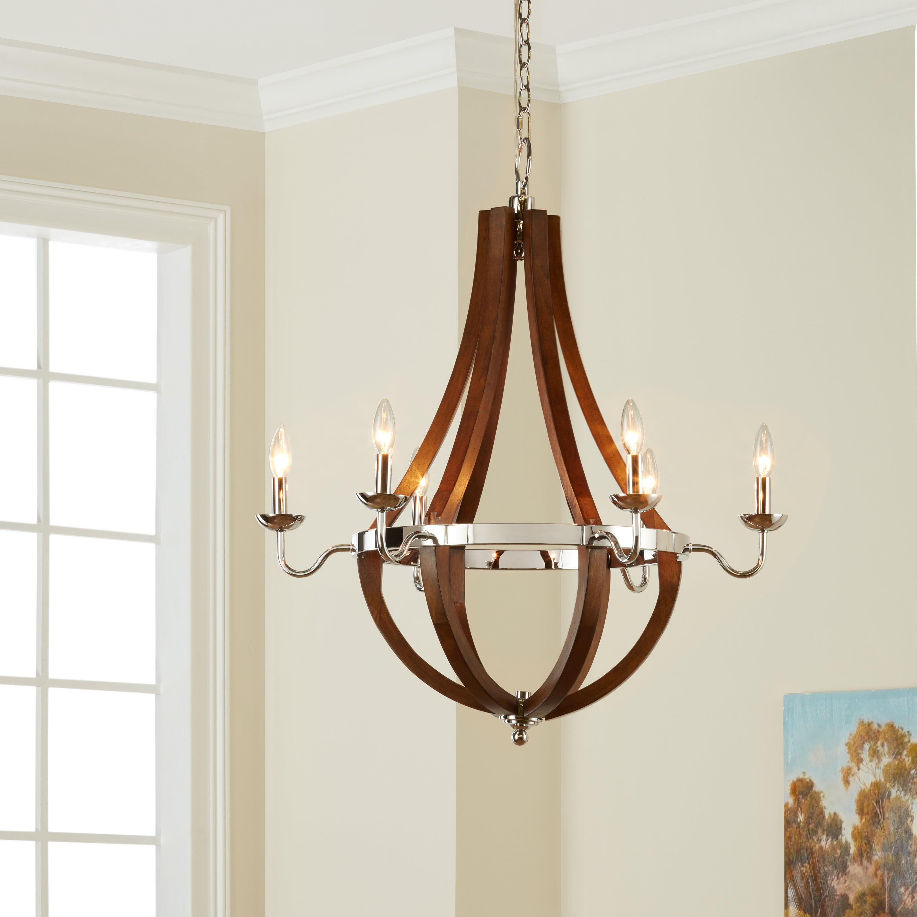 Vineyard Wood and Chrome 6 light Chandelier Free Shipping Today