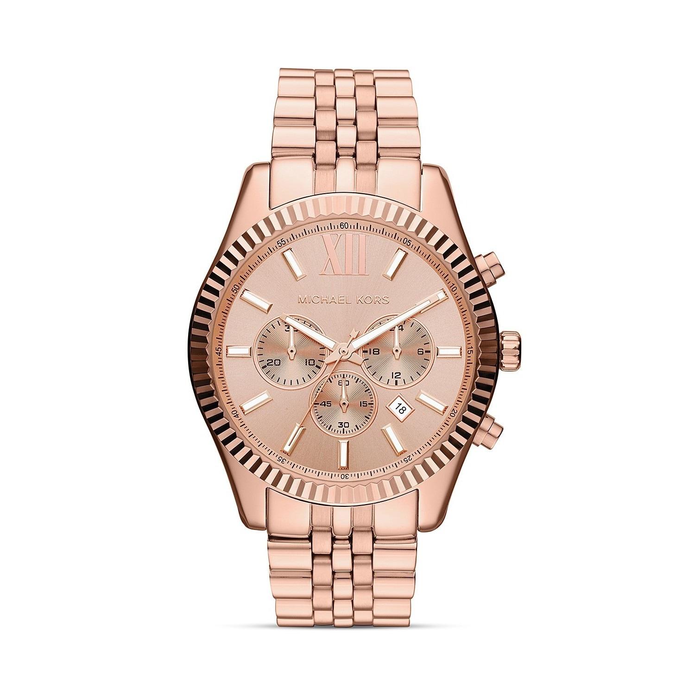 bcd8c0d723de Shop Michael Kors MK8319  Lexington  Rosegold Chronograph Watch - Free  Shipping Today - Overstock - 8561374