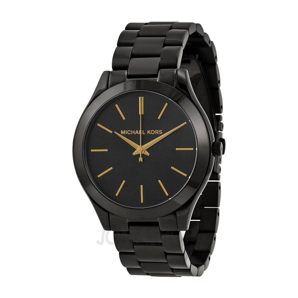 05609af52f3 Shop Michael Kors Women's MK3221 Slim Runway Watch - Black - Free Shipping  Today - Overstock - 8561375