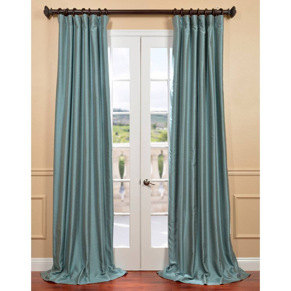 home blue curtain agave dyed overstock faux silk fabrics today product garden dupioni yarn shipping curtains free exclusive panel