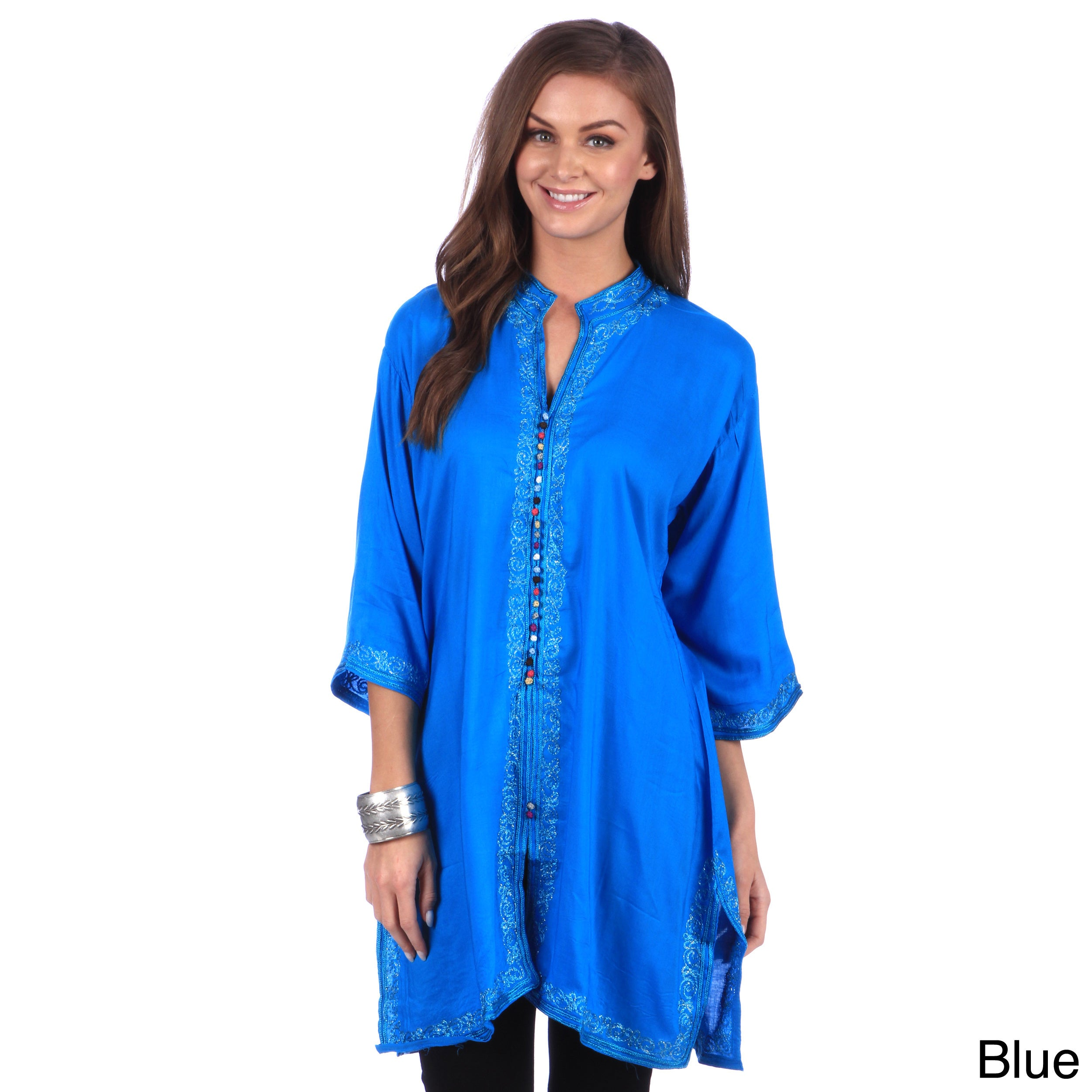 b39a6f7378e09b Shop Handmade Moroccan Women's Bohemian Vintage Colorful Cotton Silk  Embroidered Button Caftan Tunic (Morocco) - Free Shipping On Orders Over  $45 ...