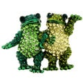 Green Crystal Frog Couple Animal Brooch