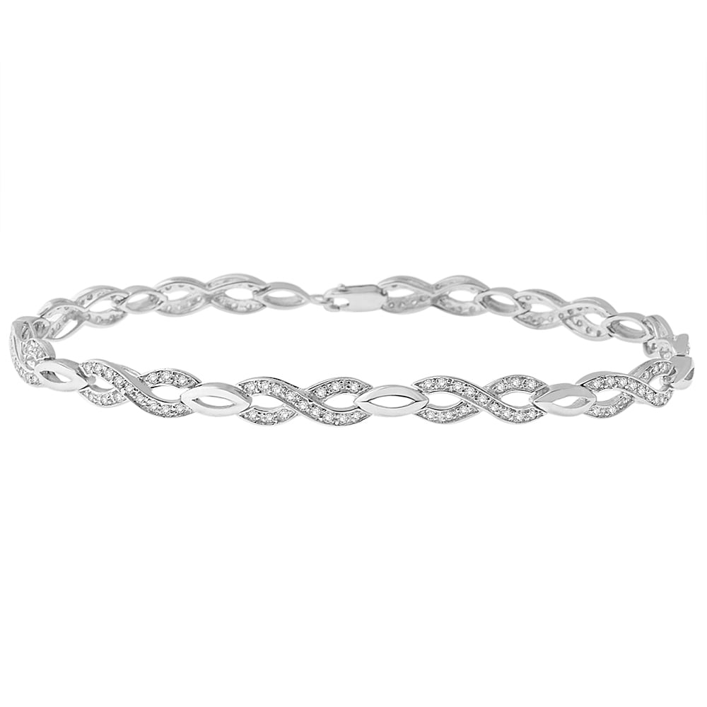 ct bracelet diamond gold silver infinity white t w bracelets sterling pin