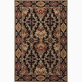 Croix Handmade Damask Black/ Red Area Rug (2' X 3')