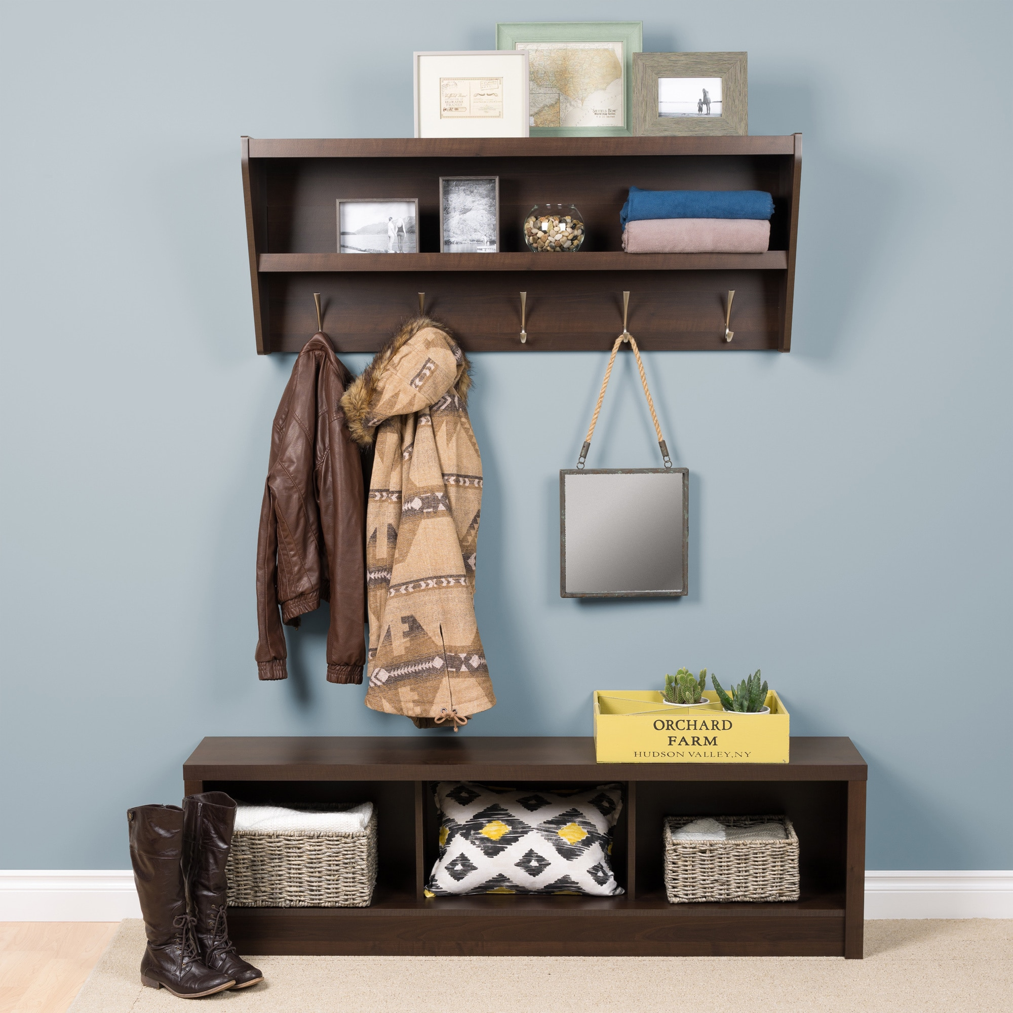 rack on up brown white for coat sprucing panel wooden hook your dazzling the of diy with interior wall shelf