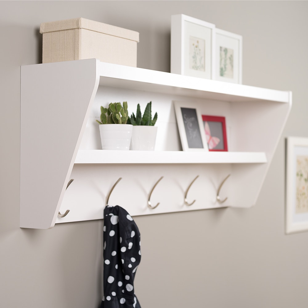 Prepac Wood Entryway Wall Mount 5 Hook Coat Rack Shelf   Free Shipping  Today   Overstock   15848975
