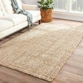 Cayman Natural Solid White/ Tan Area Rug (5' X 8')