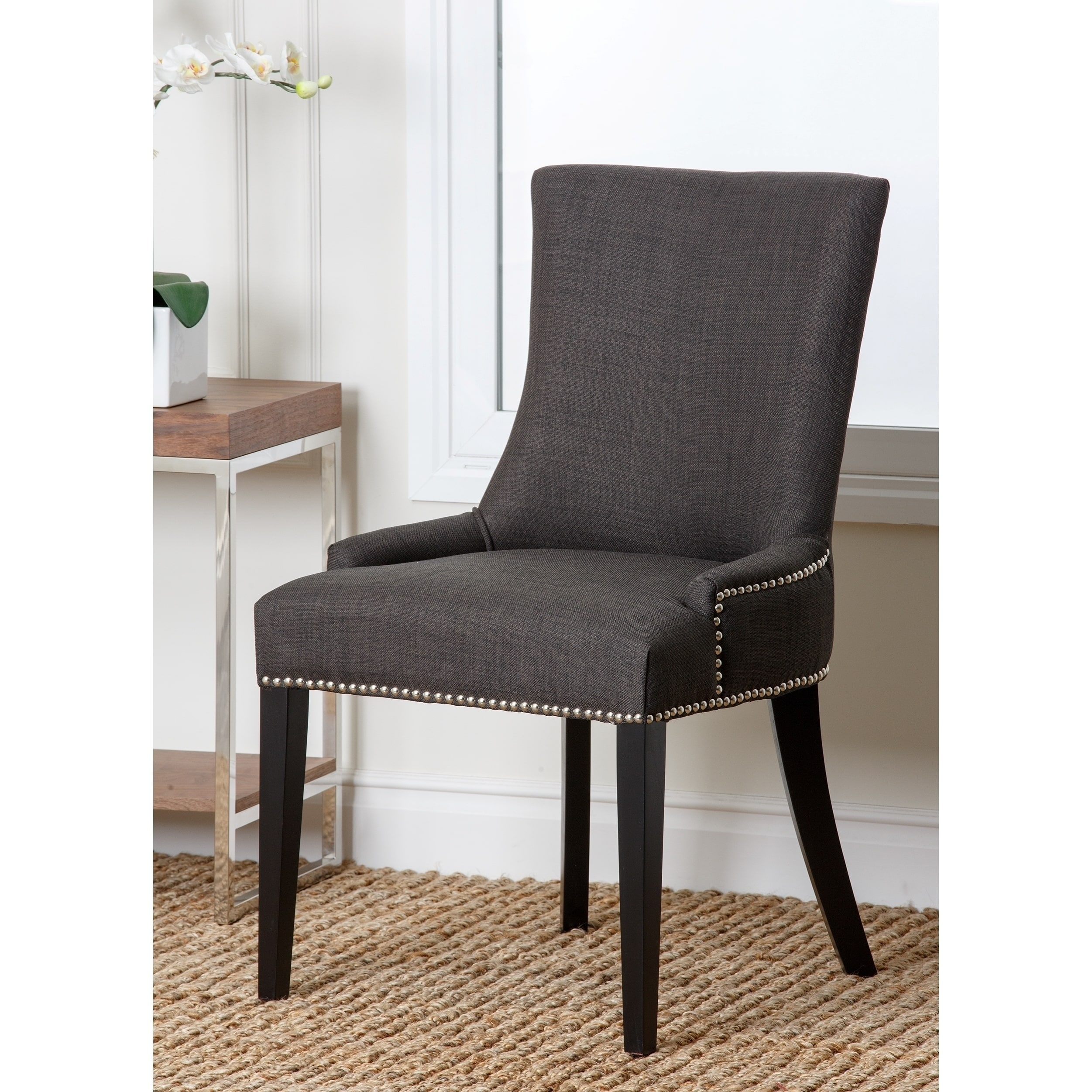 Shop Abbyson Newport Grey Fabric Nailhead Trim Dining Chair   On Sale    Free Shipping Today   Overstock.com   8577955