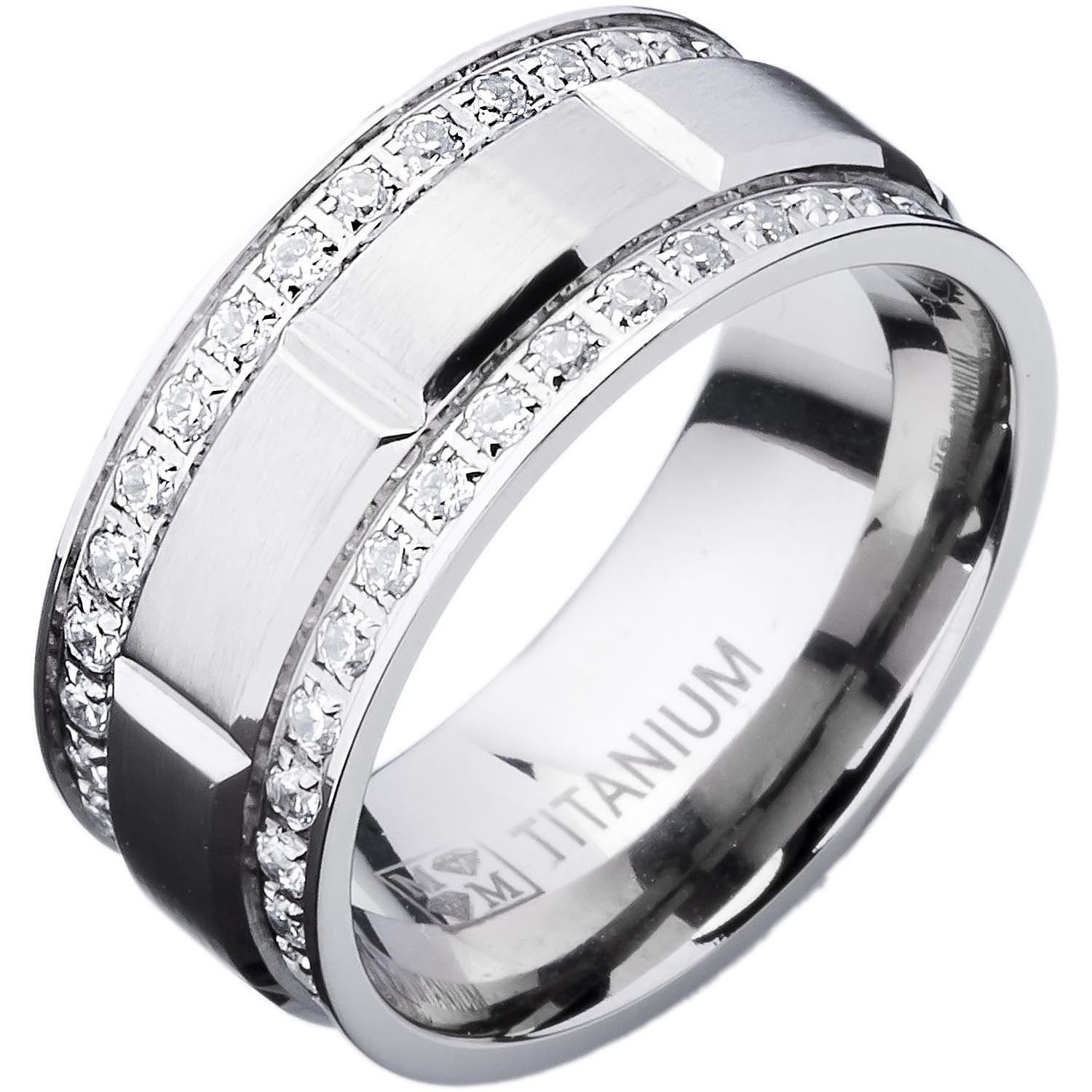 men s ring platinum full titanium size silver and
