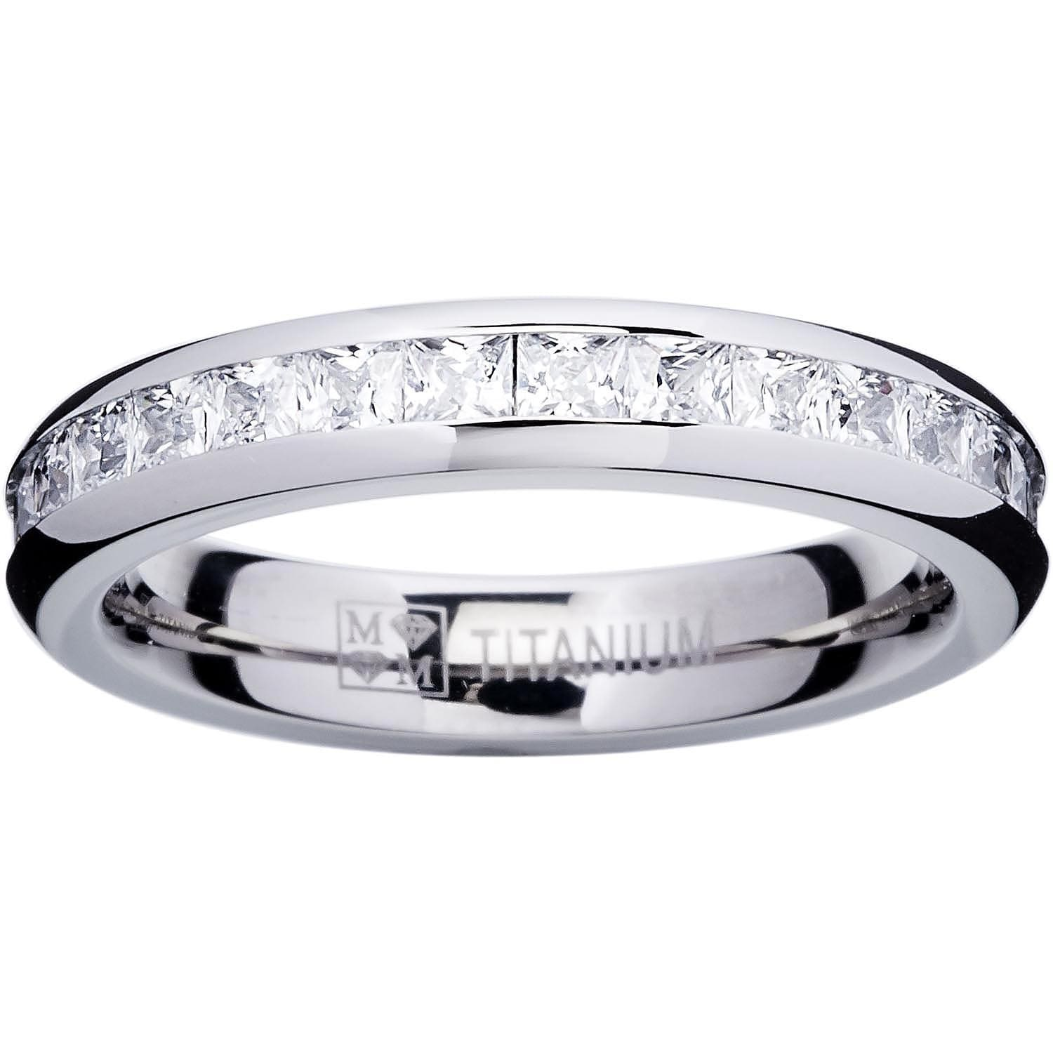 rhodium plated ring silver band pave eternity row zirconia default sterling bands cubic