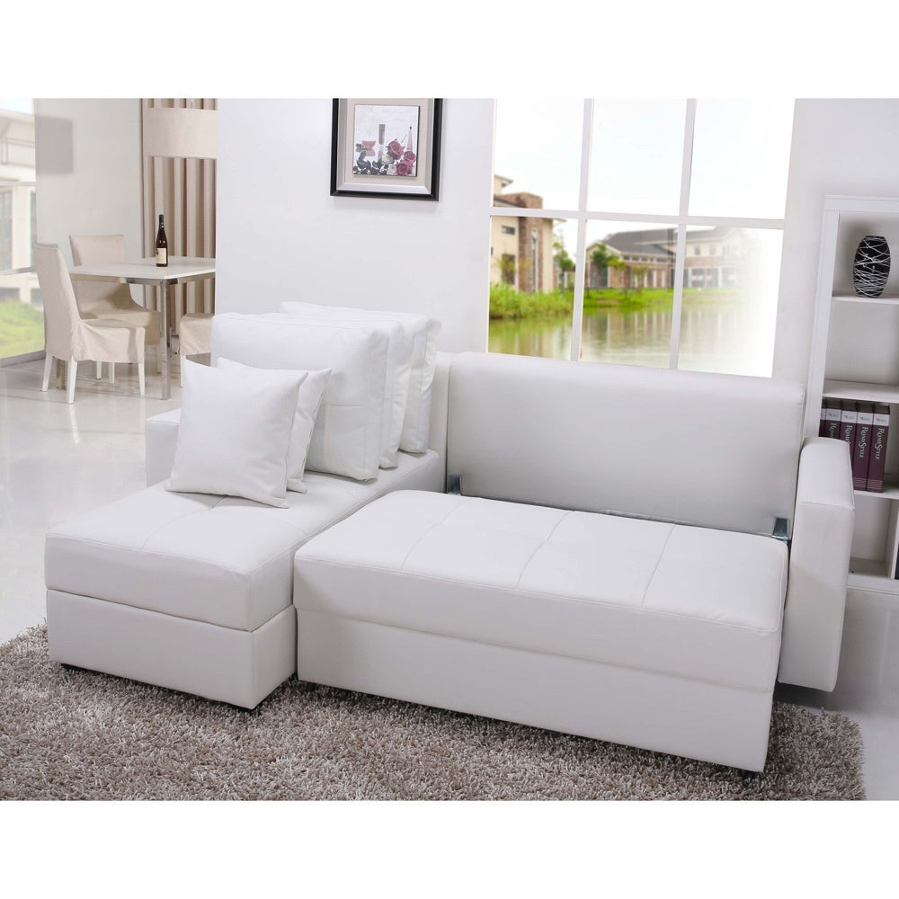 Gold Sparrow Aspen White Convertible Sectional Storage Sofa Bed Set Free Shipping Today 8578250