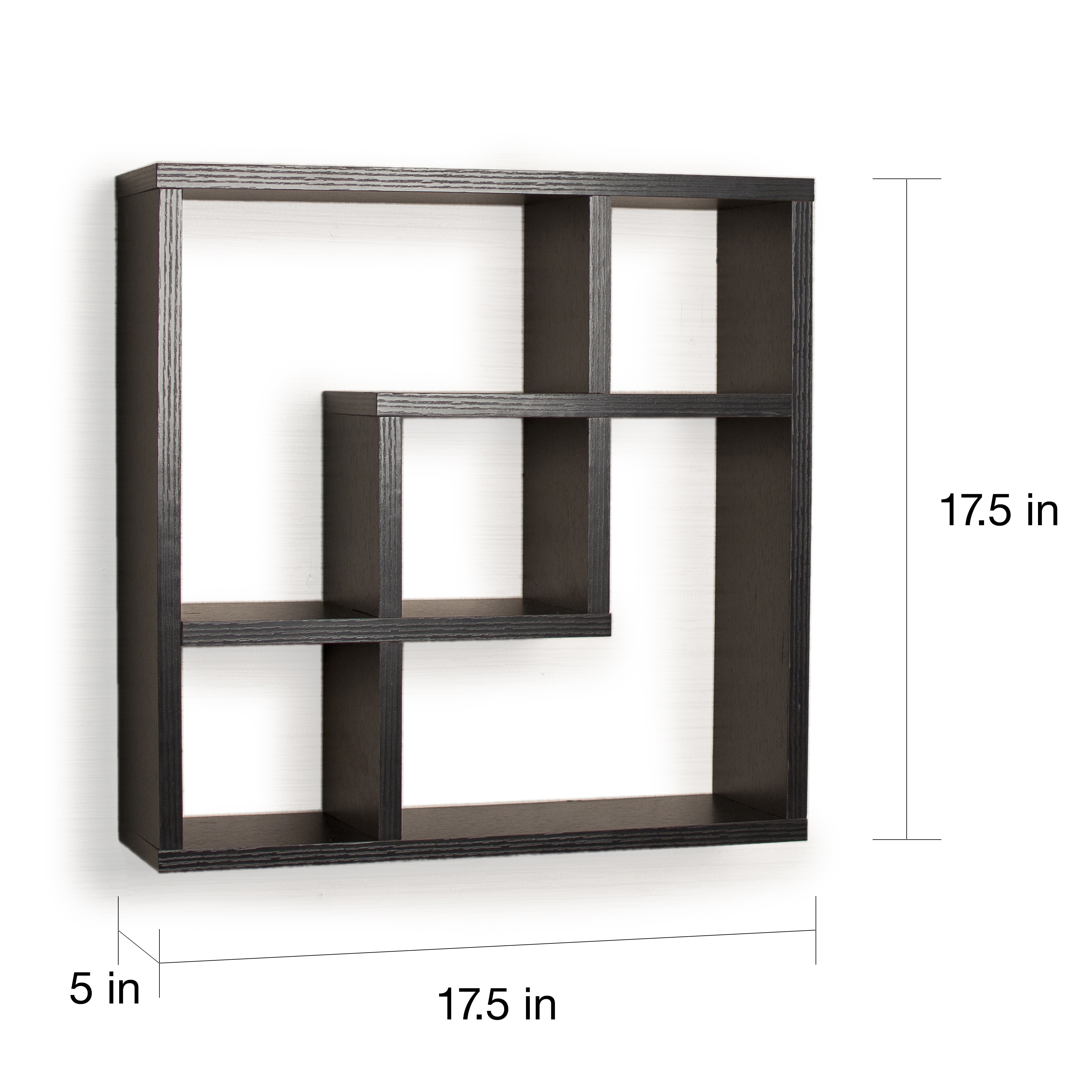 Shop Geometric Square Wall Shelf With 5 Openings Free Shipping On Colorful Shapes Circuit Board Pattern Clock Orders Over 45 8578324