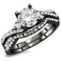 Noori 18K Black Gold 1 1/4ct TDW Round Diamond 2-Piece Bridal Ring Set