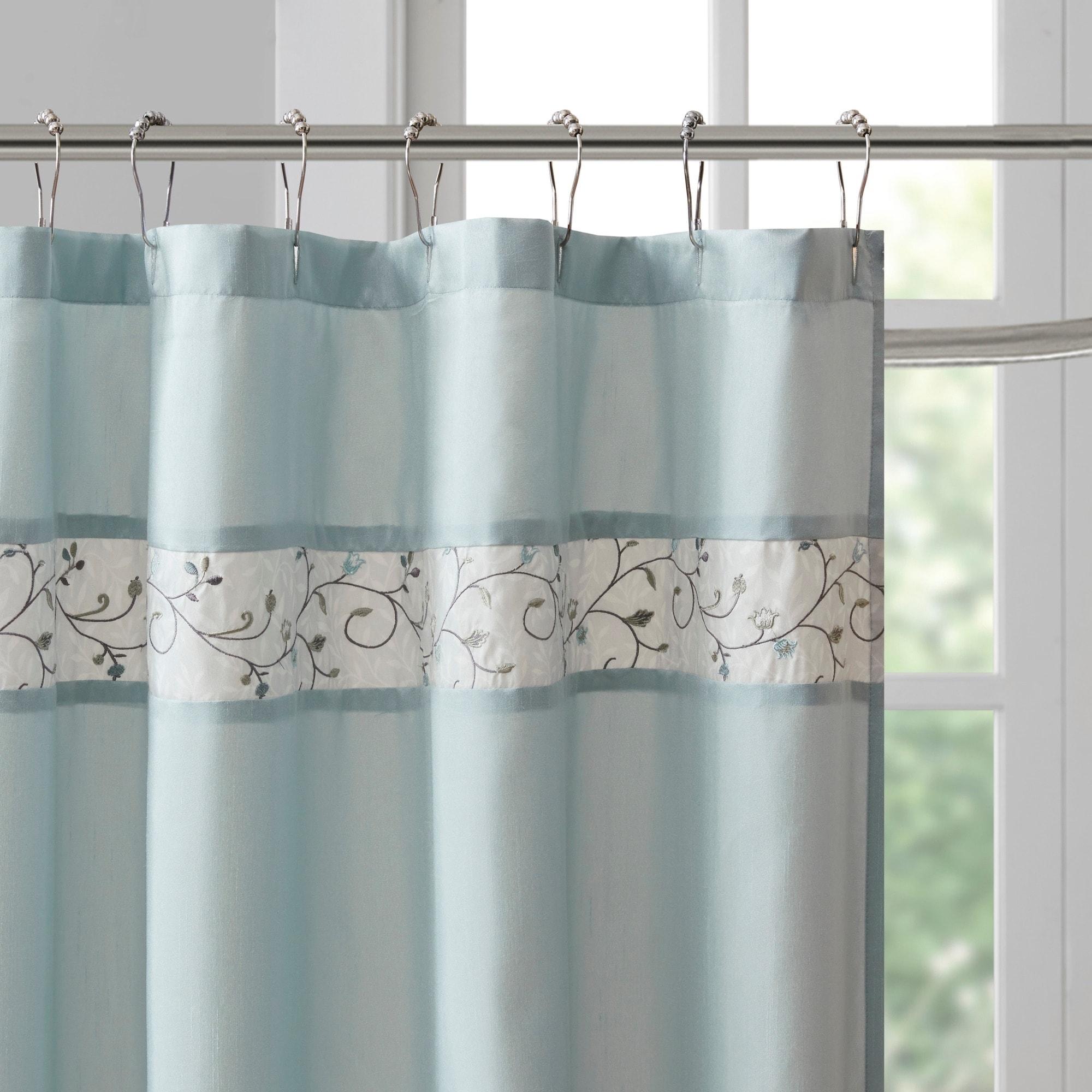 Shop Madison Park Belle Faux Silk Embroidered Floral Shower Curtain 9 Color Option