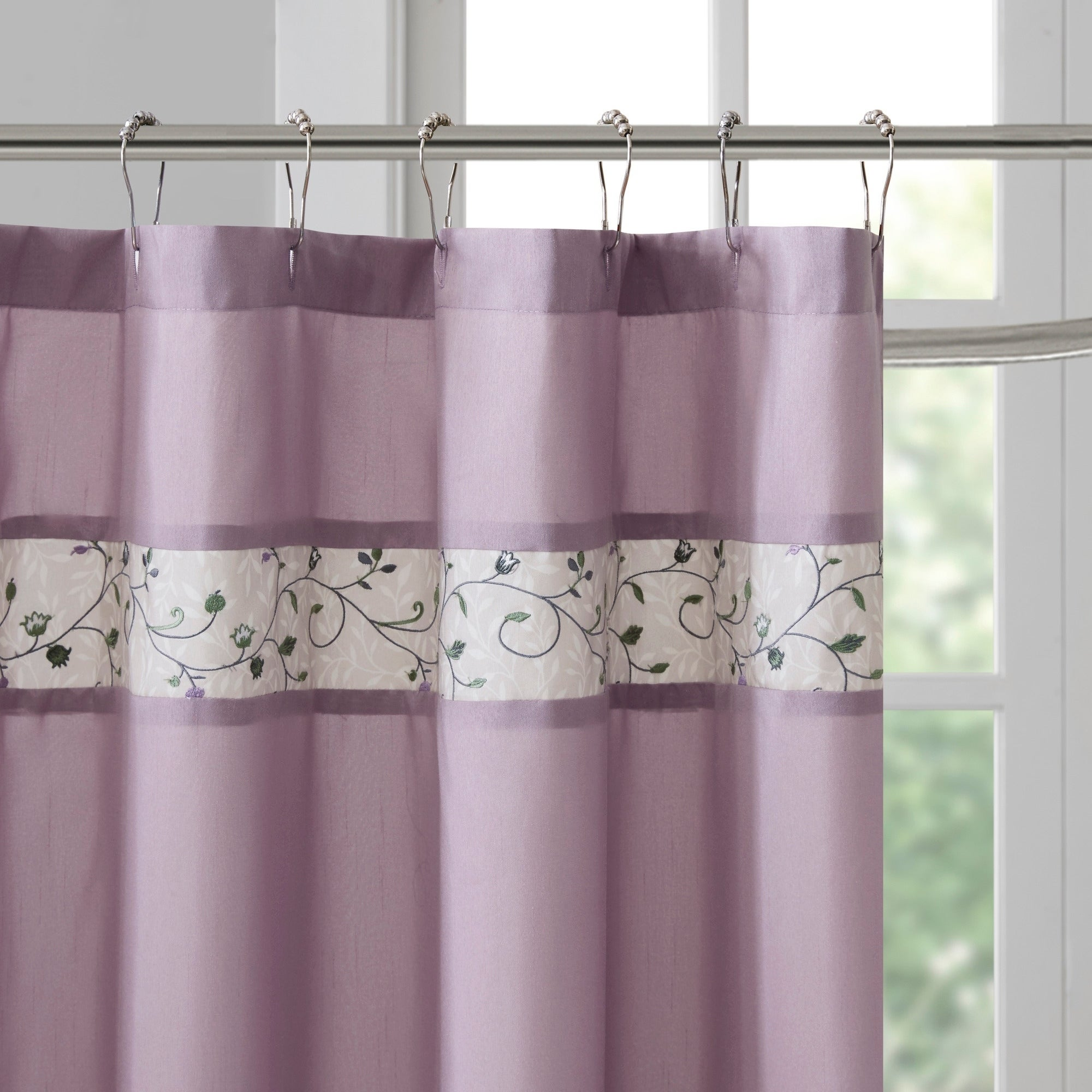 Shop Madison Park Belle Faux Silk Embroidered Floral Shower Curtain 9 Color Option