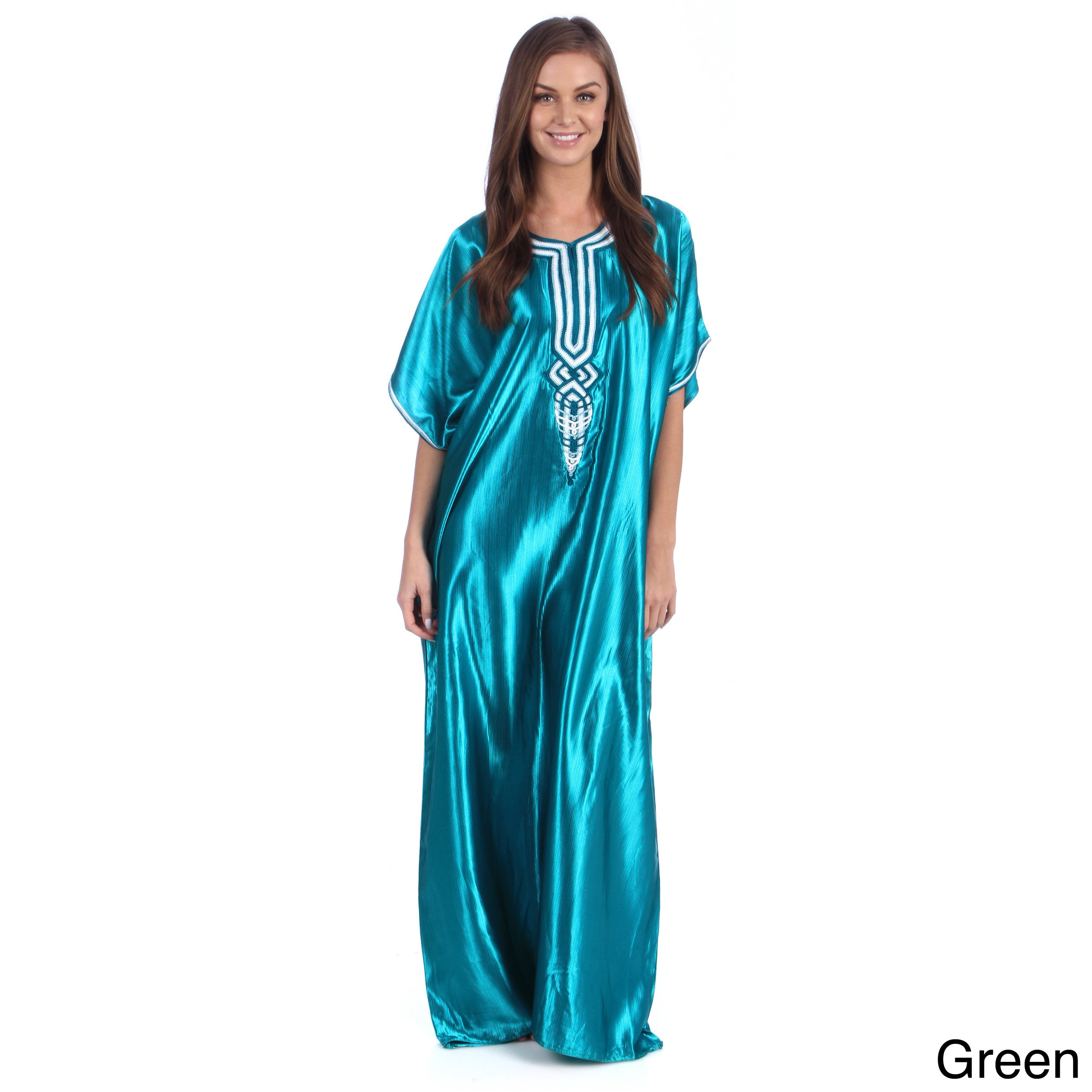 eb6da9d87f3 Shop Handmade Moroccan Women s Sunny Blue Satin Fabric Long Mediterranean  Caftan with Tread Embroidered Fiber (Morocco) - Free Shipping On Orders  Over  45 ...