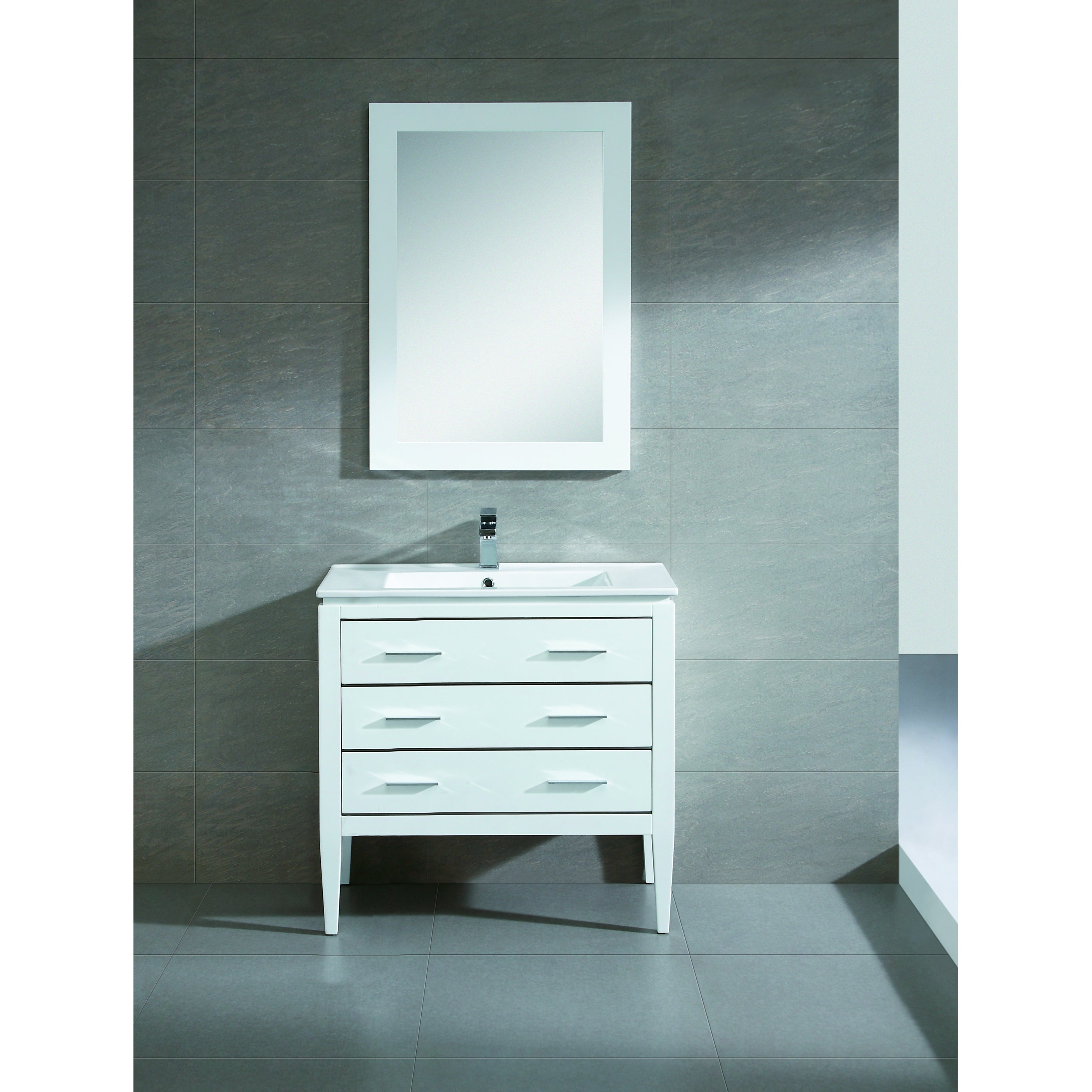 Shop Fine Fixtures Exclusive 36-inch White Plywood Vanity Set - Free ...