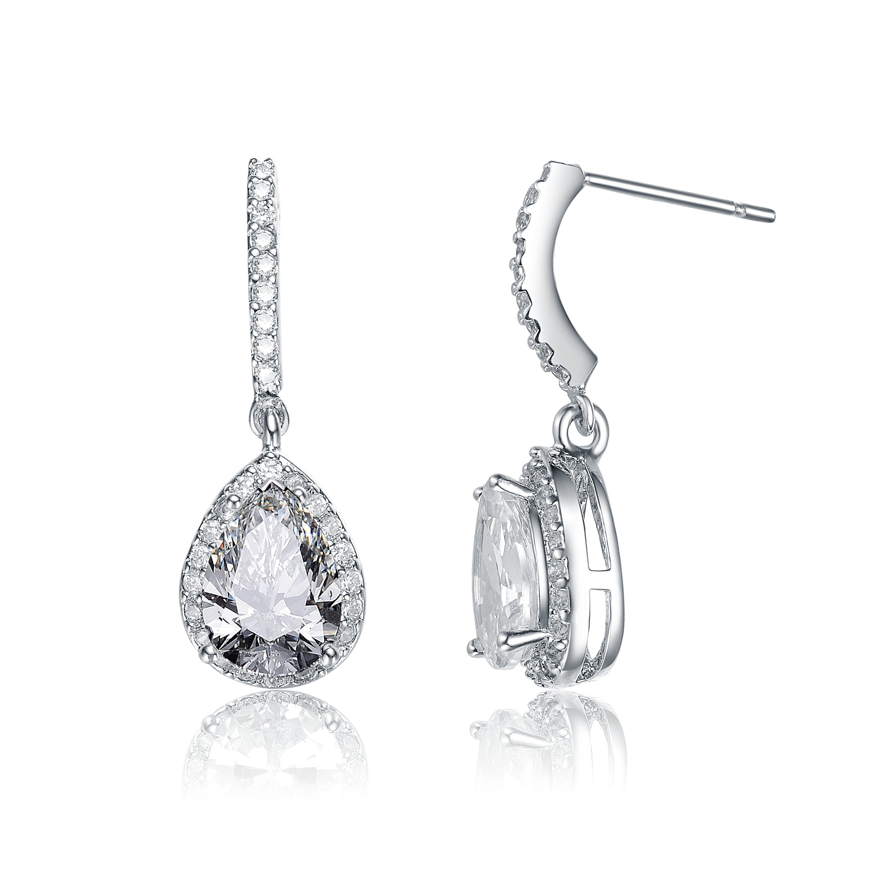 6d8d01cab3e7 Shop Collette Z Sterling Silver with Rhodium Plated Clear Pear with Round Cubic  Zirconia Halo Drop Earrings - On Sale - Free Shipping On Orders Over  45 ...