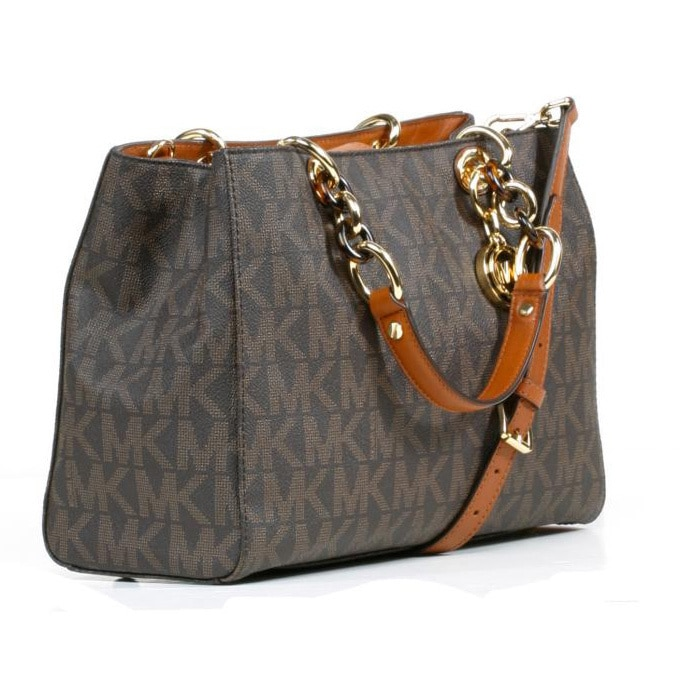 8e344419c09a Shop Michael Kors Cynthia Brown Signature Satchel Handbag - Free Shipping  Today - Overstock - 8583962
