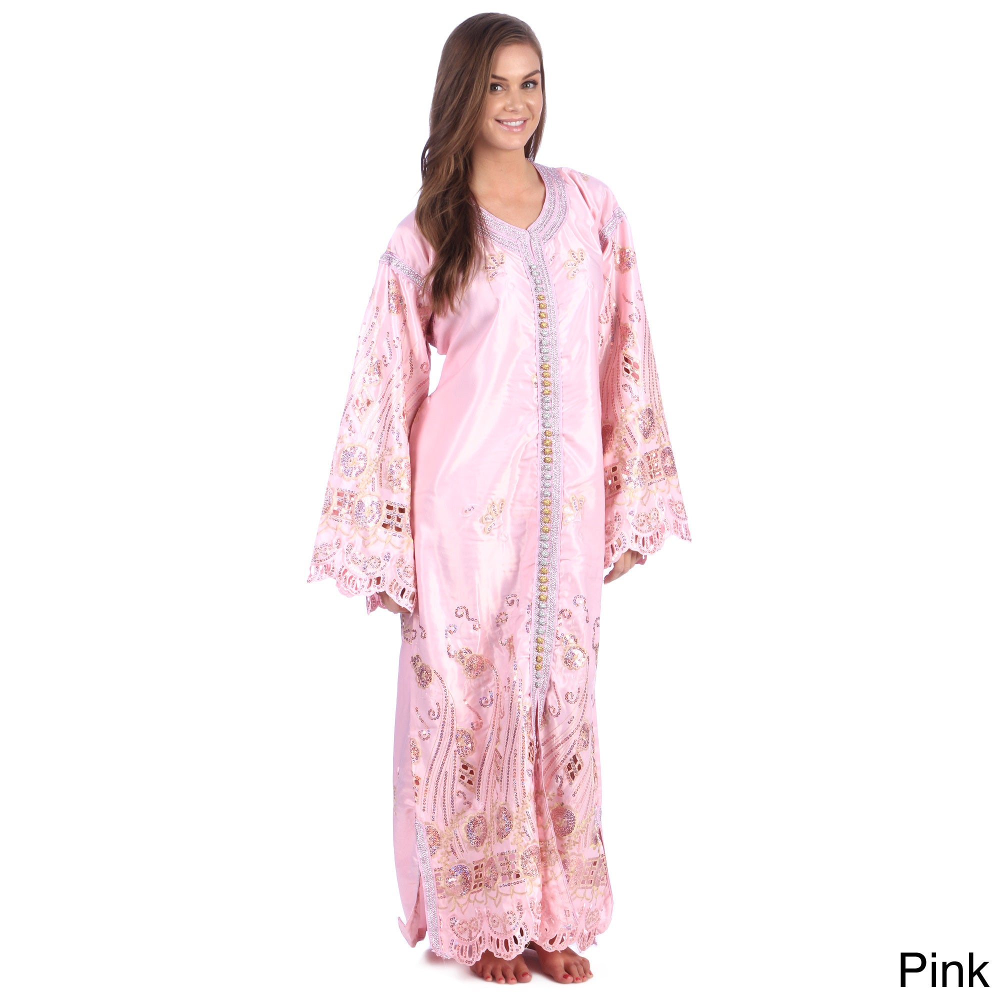 c8c344c6b3f Shop Moroccan Handmade Women s Satin Caftan with Gold Embroidered Fiber and  Carved Button - Free Shipping Today - Overstock - 8584124