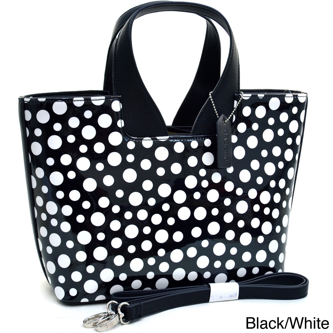Dasein Glossy Polka Dot Satchel Handbag With Faux Leather Trim Free Shipping Today 8584291