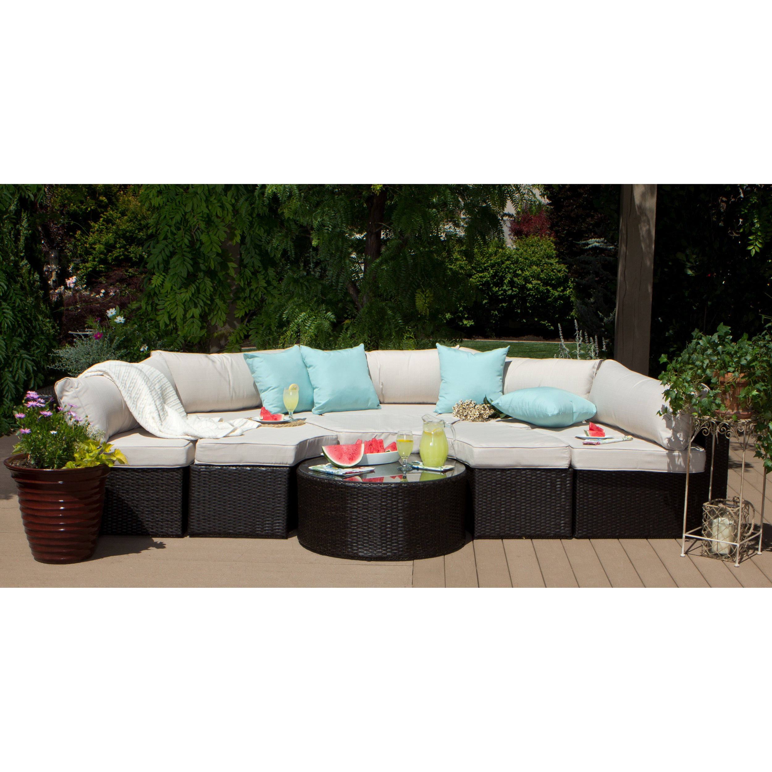Isla 9 piece Outdoor Sectional Free Shipping Today Overstock