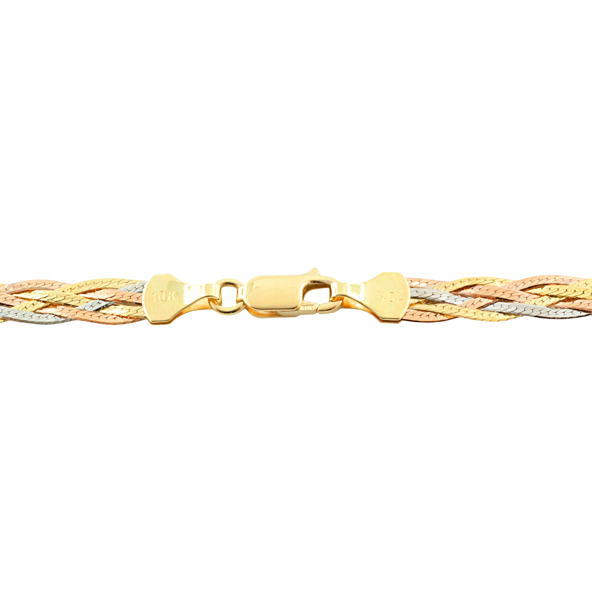 shipping jewelry bangle karat overstock bracelets herringbone inch bangles watches product strand fremada gold tricolor free today braided bracelet