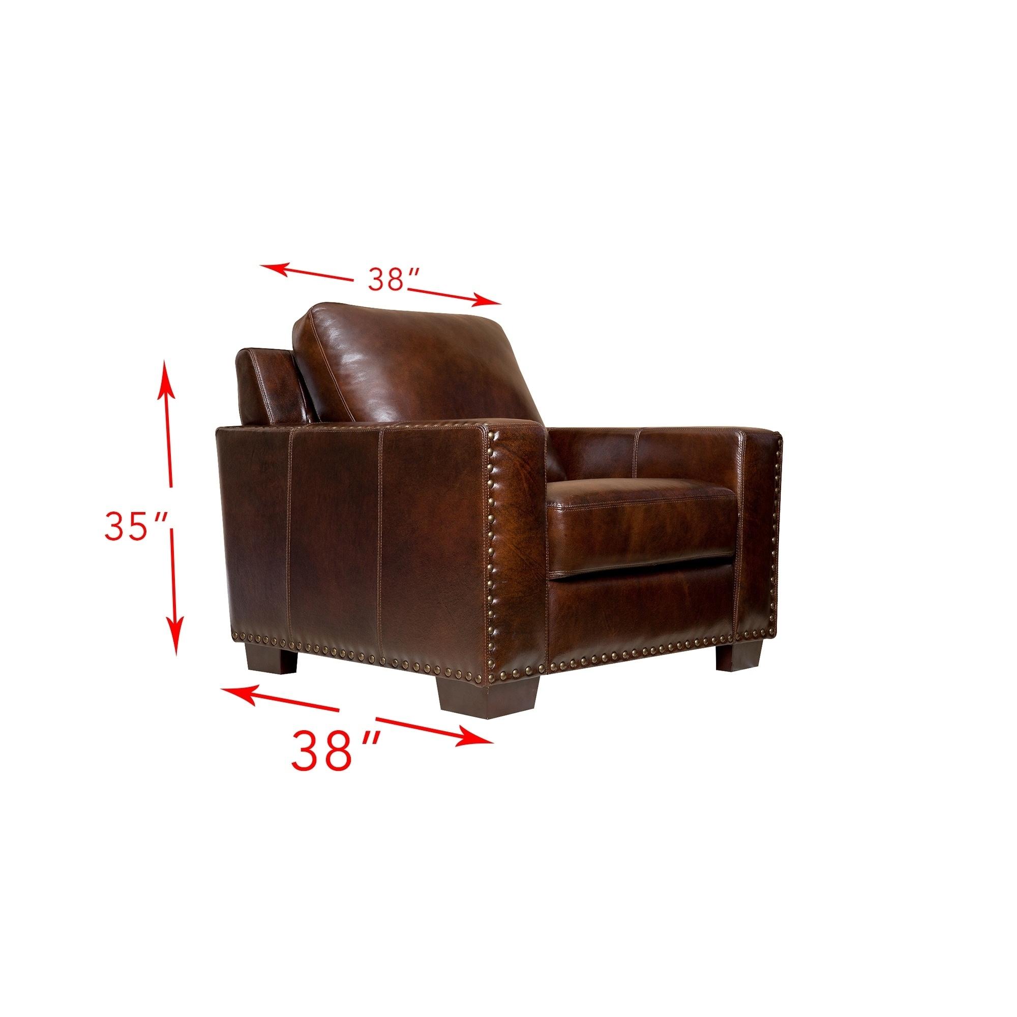 Shop Abbyson Barrington Top Grain Leather 3 Piece Living Room Set ...