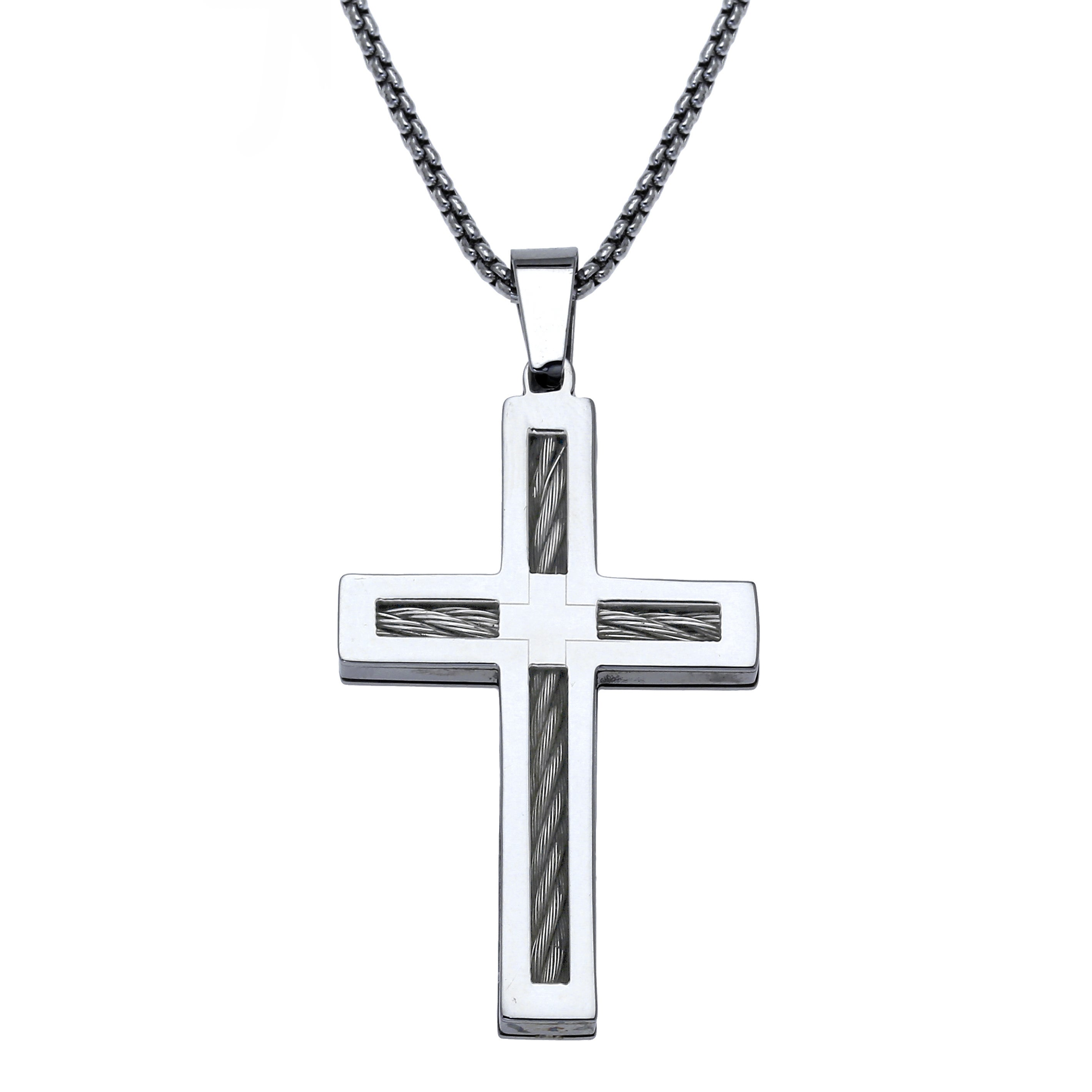 Stainless steel mens cross pendant free shipping on orders over stainless steel mens cross pendant free shipping on orders over 45 overstock 15865996 aloadofball Image collections