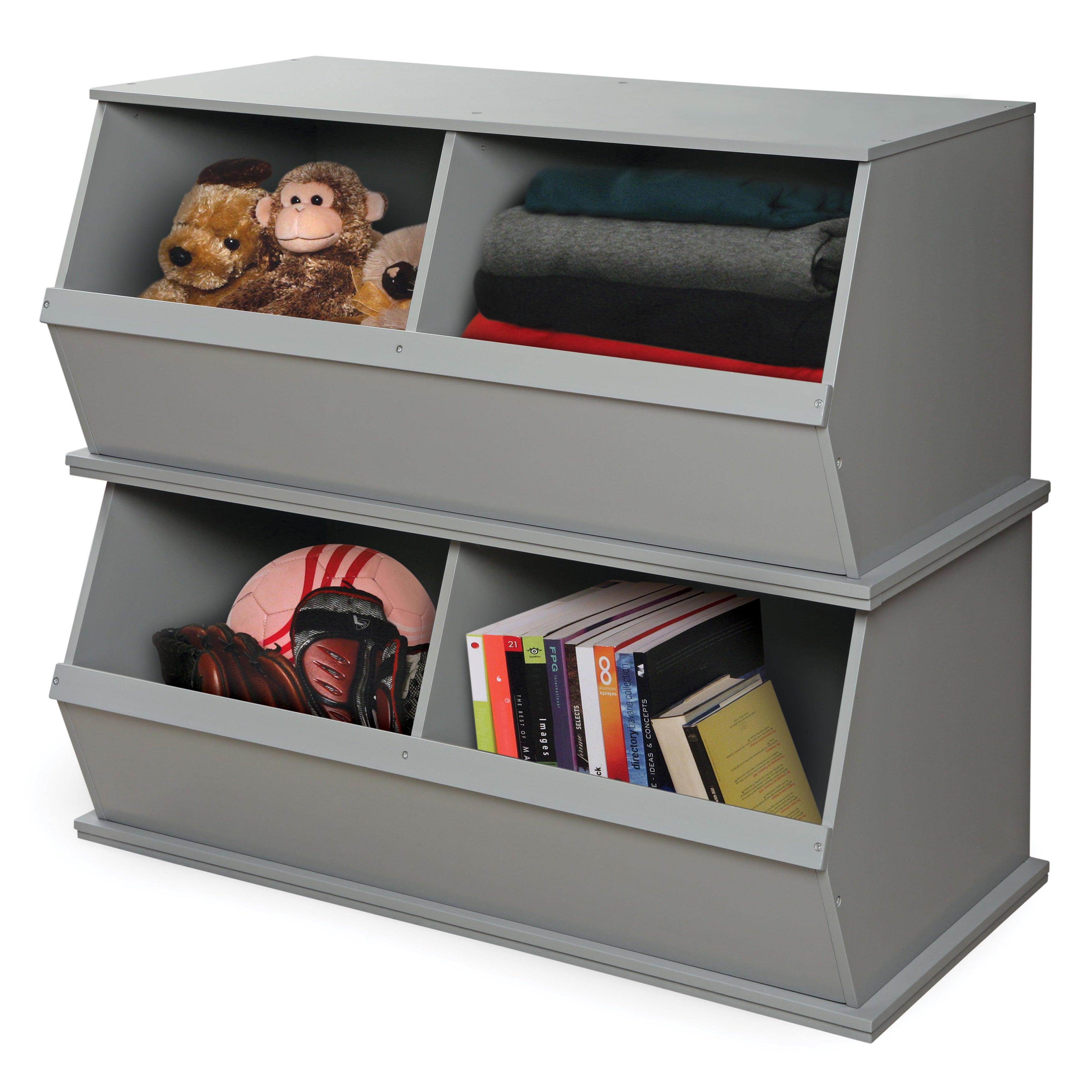 Shop Badger Basket White/Grey 2 Bin Storage Cubby   Free Shipping Today    Overstock.com   8597346