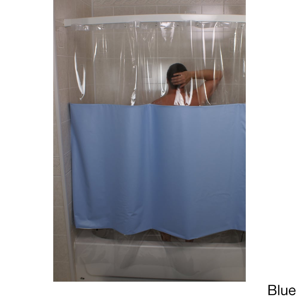 Shop SneakPeek Solid Color w/ Clear Vinyl Shower Curtain - Free ...