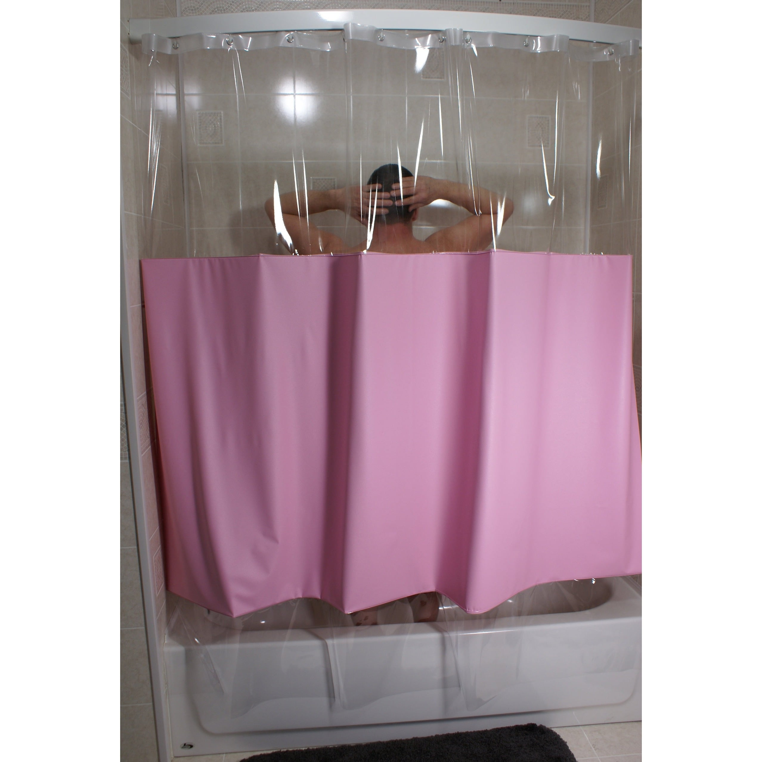 SneakPeek Solid Color w/ Clear Vinyl Shower Curtain - Free Shipping ...
